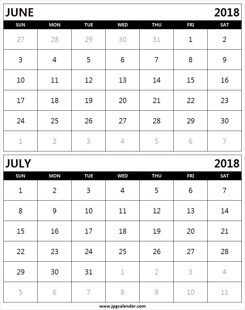 2 Months June July 2018 Calendar Printable Free | Jpg Calendar  June And July Calendar Printable