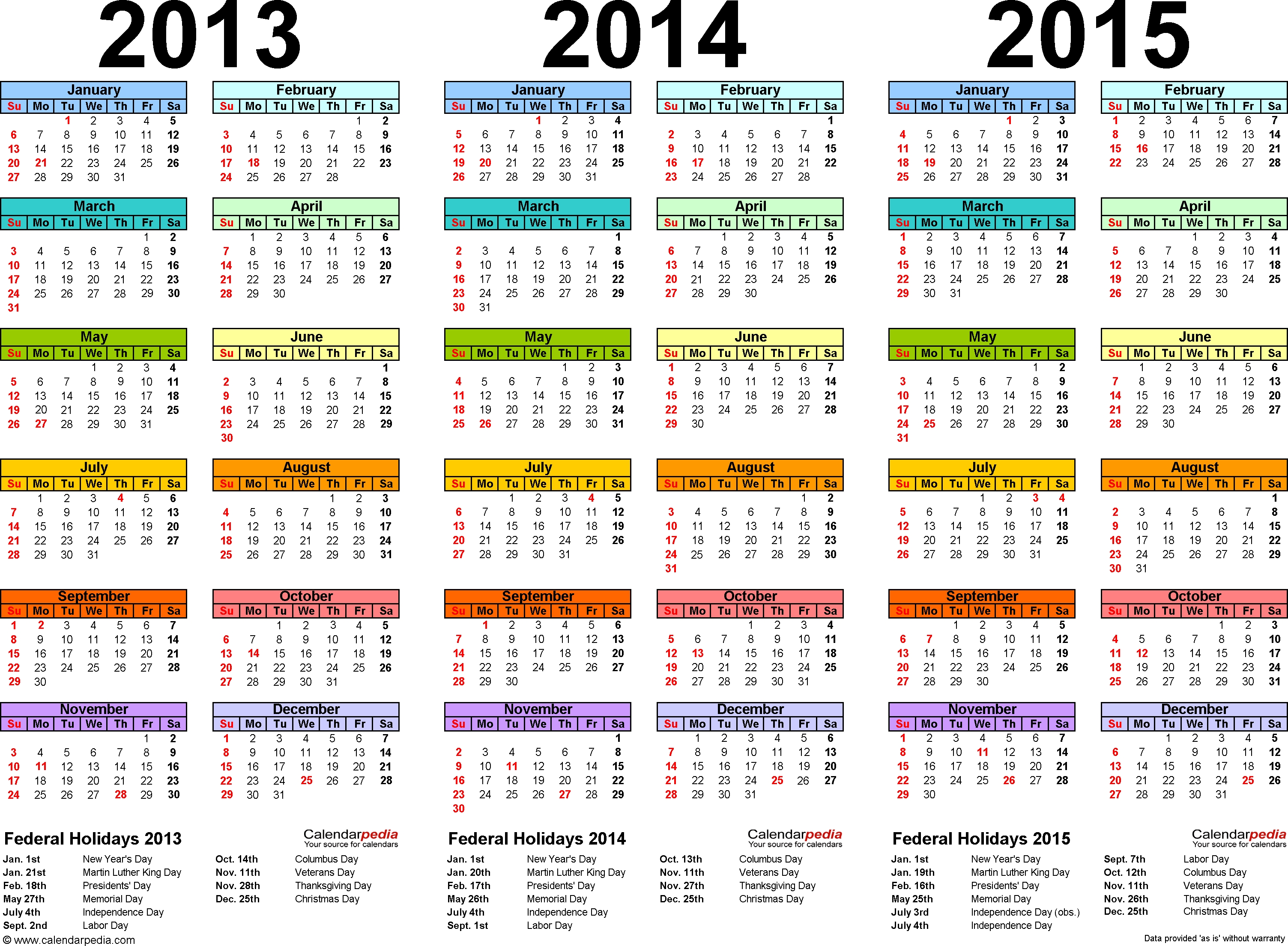 2013 2014 2015 Calendar 2 Three Year Printable Pdf Calendars  Printable 2014 Calendar With Canadian Holidays