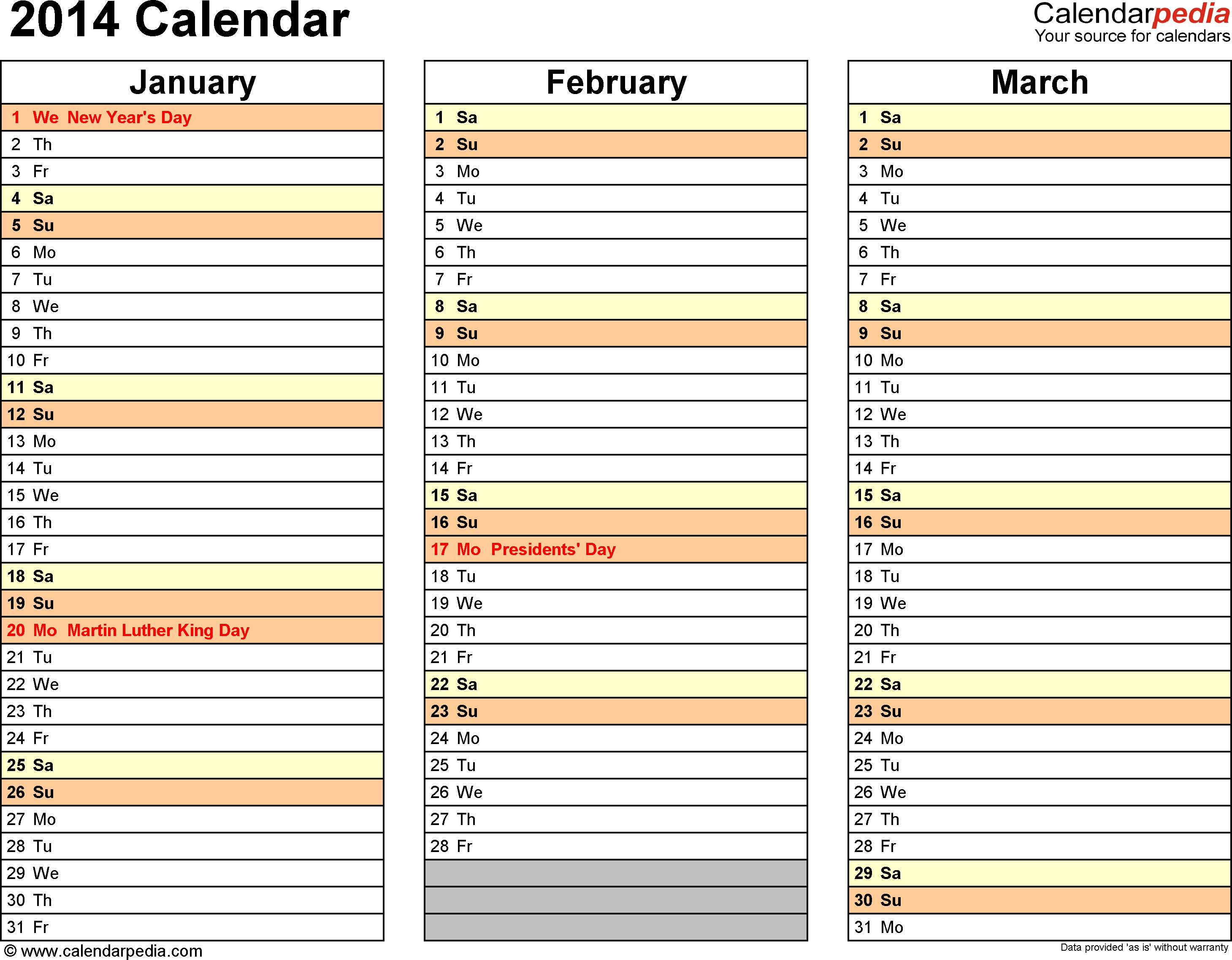 2014 Calendar 13 Free Printable Word Templates Inside 4 Month  Printable Large Blank Three Month Calendar Template