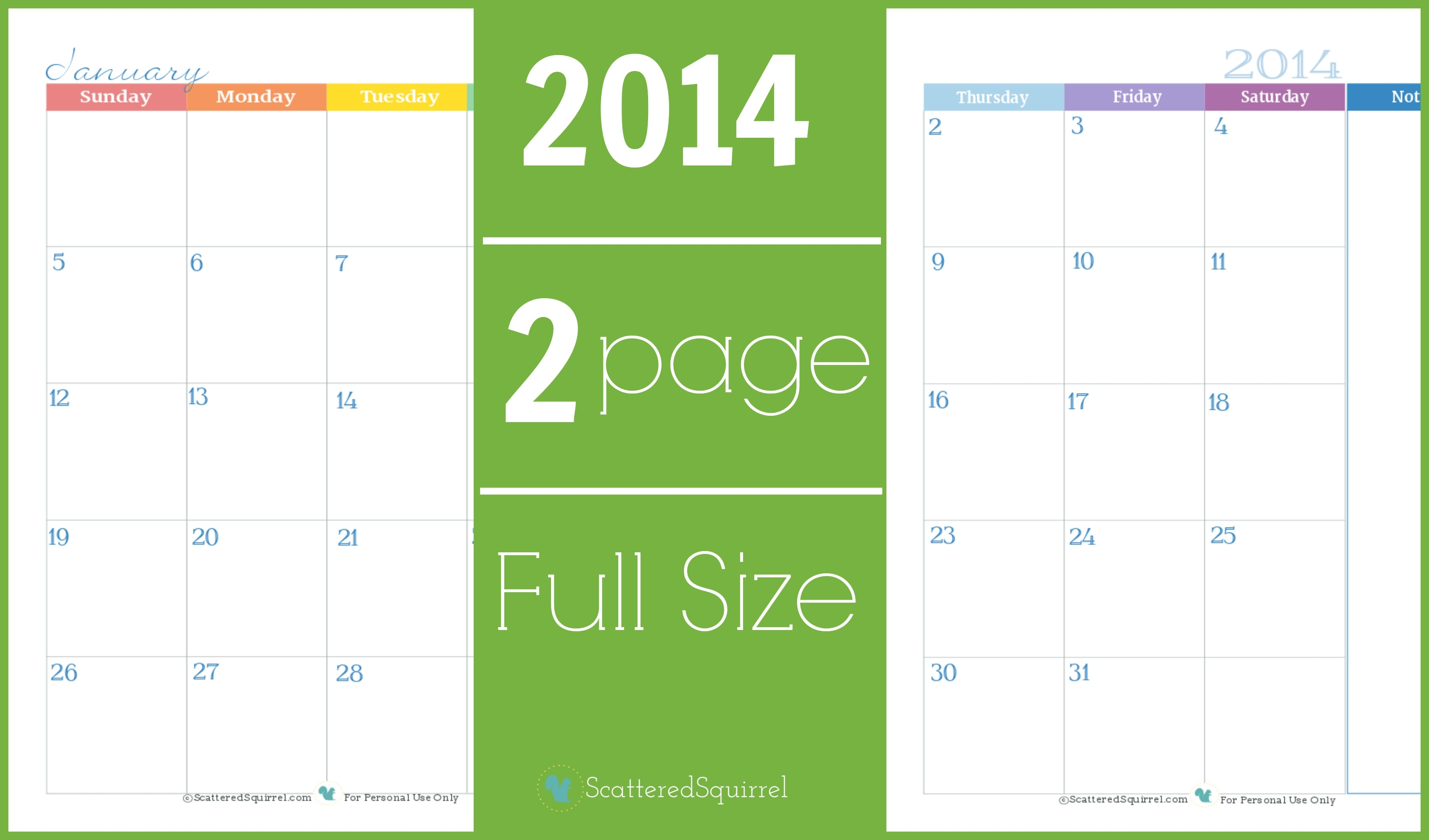 2014 Calendar: Two Page Monthly - Scattered Squirrel  Full Page Monthly Calendar Printable