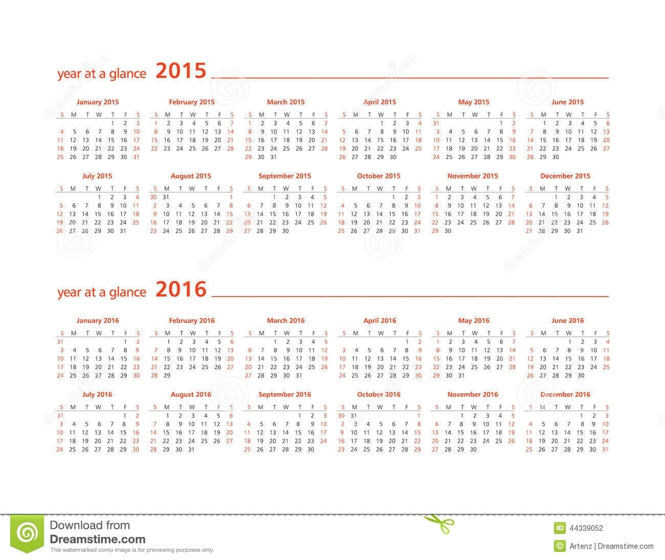 2015 And 2016 Year At A Glance Stock Illustration - Illustration Of  Year Calendar At A Glance