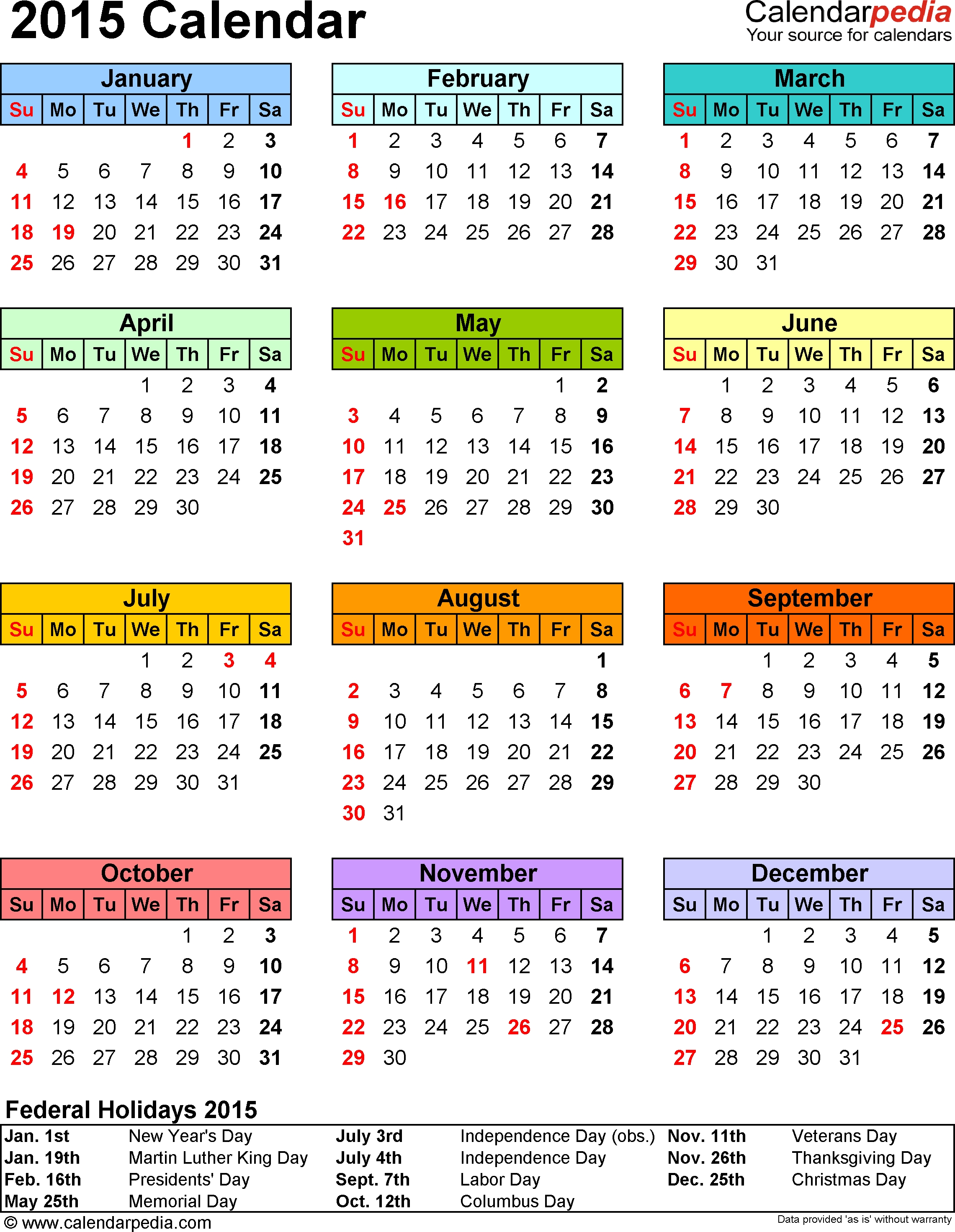 2015 Calendar Printable One Page With Holidays - Yeniscale.co  Printable 2014 Calendar With Canadian Holidays