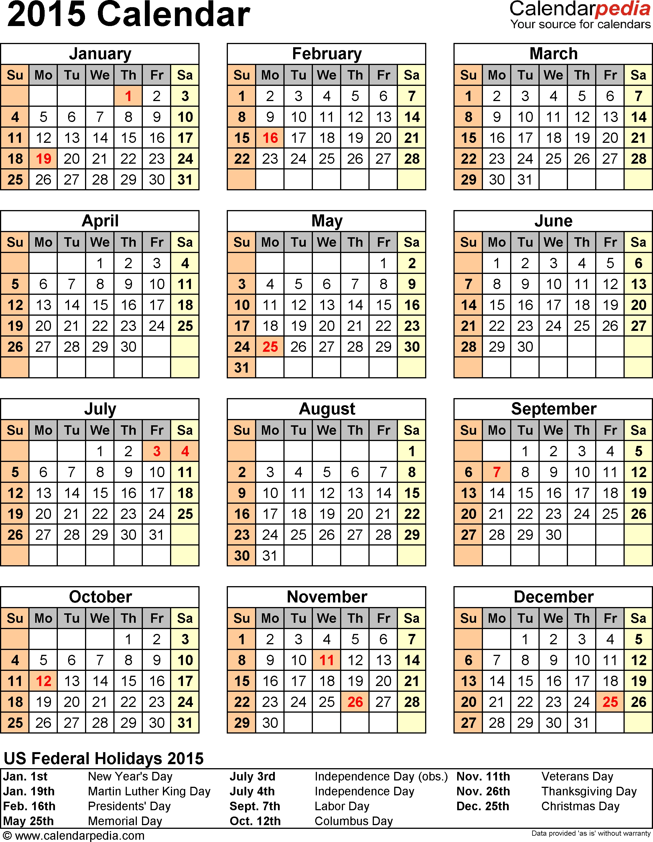 2015 Calendar With Federal Holidays & Excel/pdf/word Templates  Downloadable Employee Vacation Calendar 2015