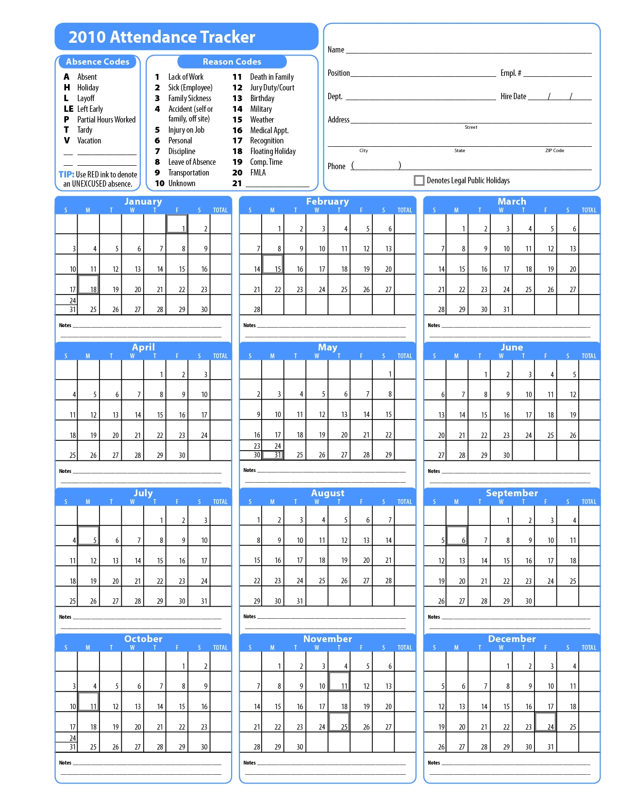2015 Free Attendance Calendars Printable Employee Attendance  Downloadable Employee Vacation Calendar 2015