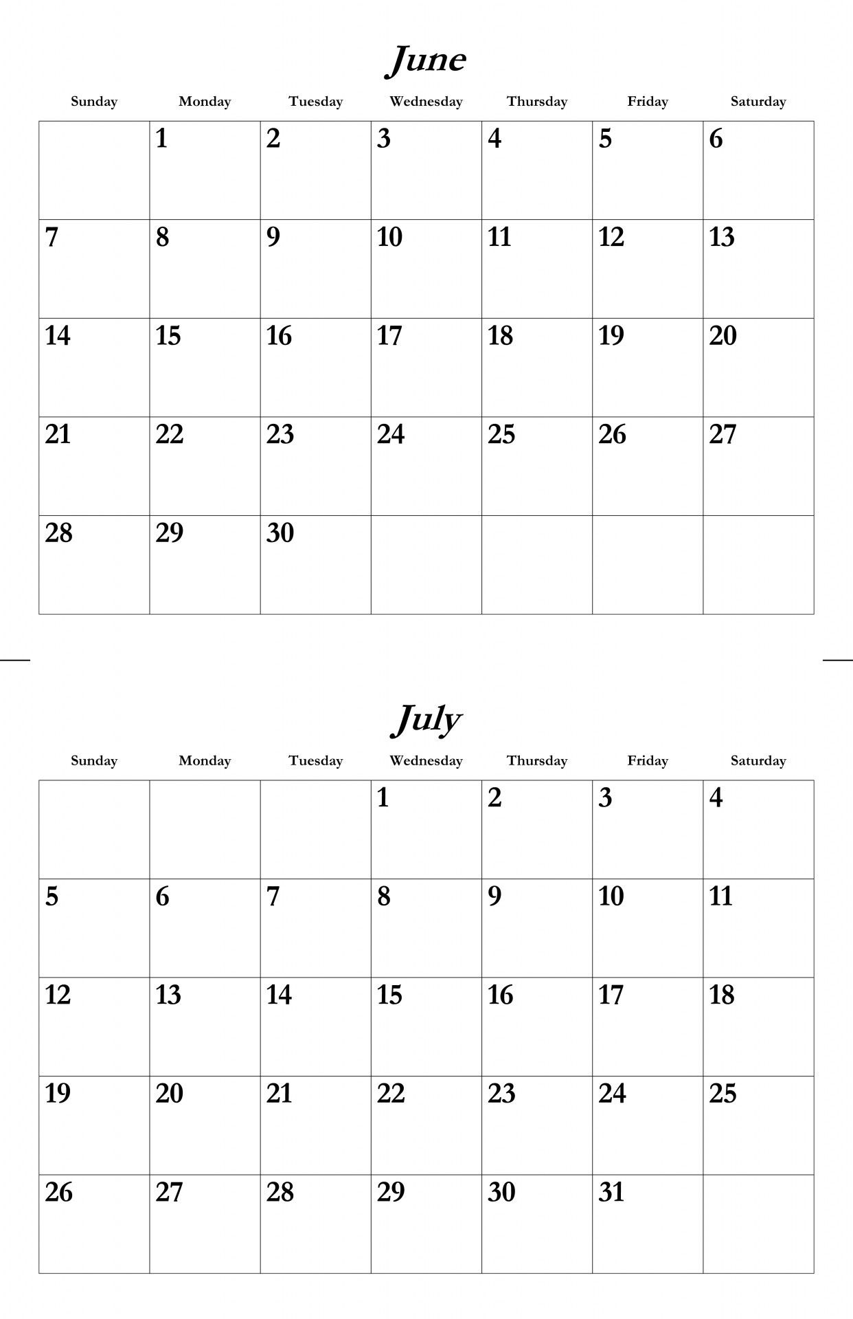 2015 June And July Calendar - Google Search | Etc. | Pinterest  June And July Printable Calendars