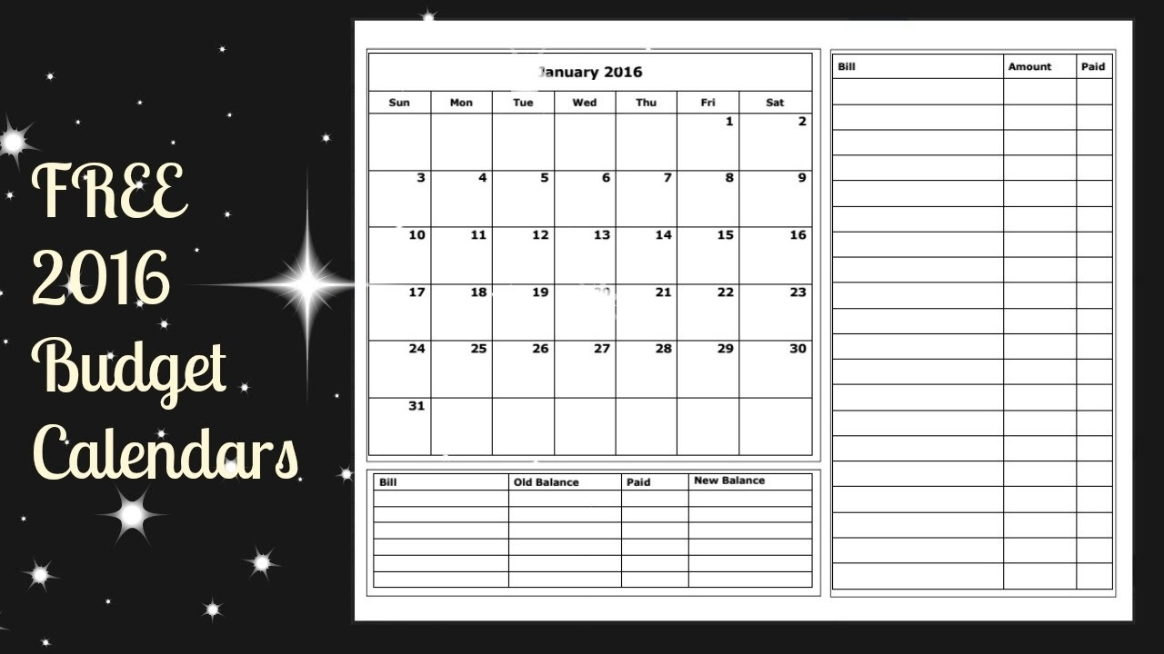 2016 Budget Calendar Free Printable - Youtube  Free Printable Monthly Bill Payment Calendar