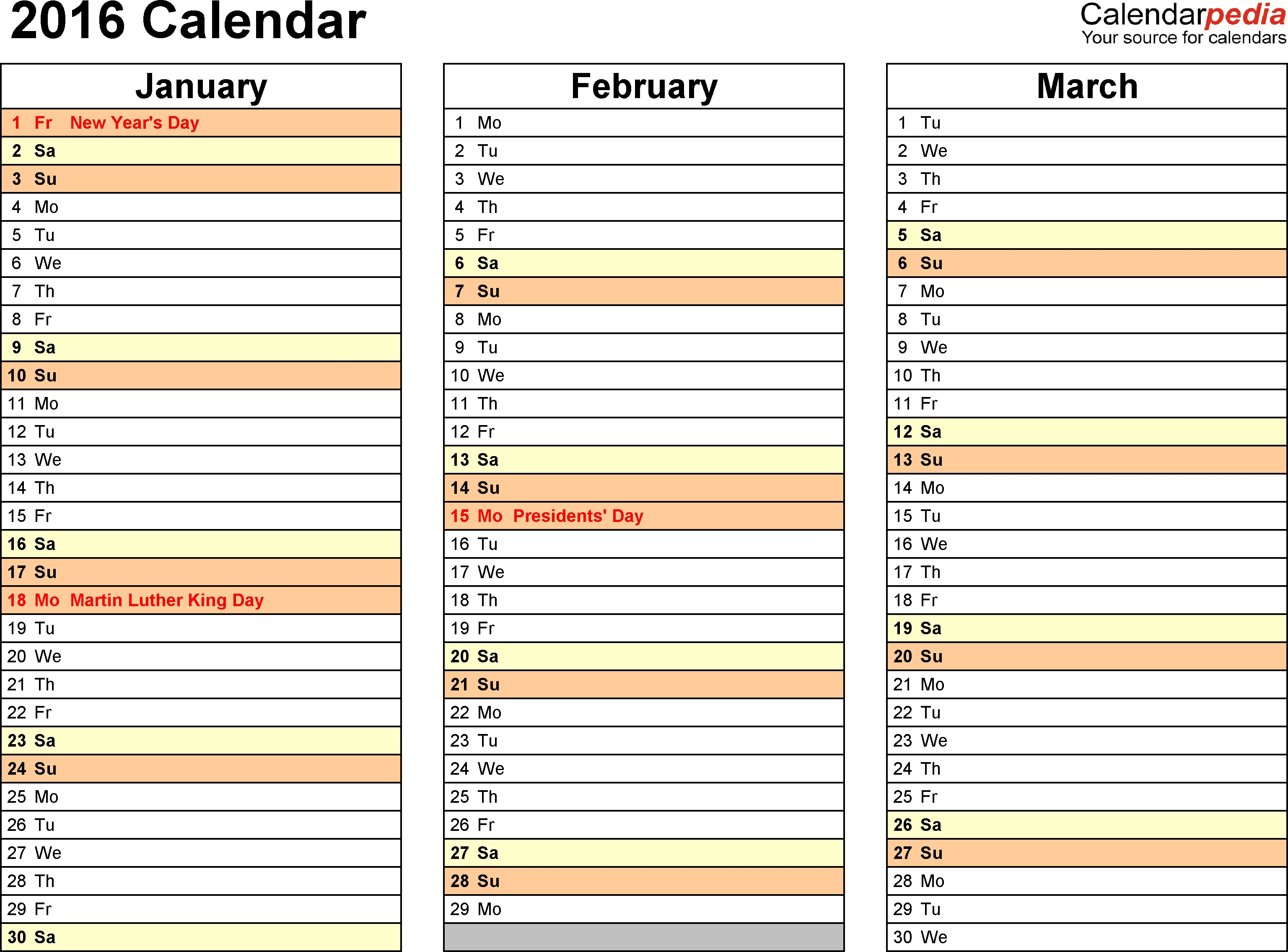 2016 Calendar - Download 16 Free Printable Excel Templates (.xlsx)  Free Three Month Printable Calendar Pages