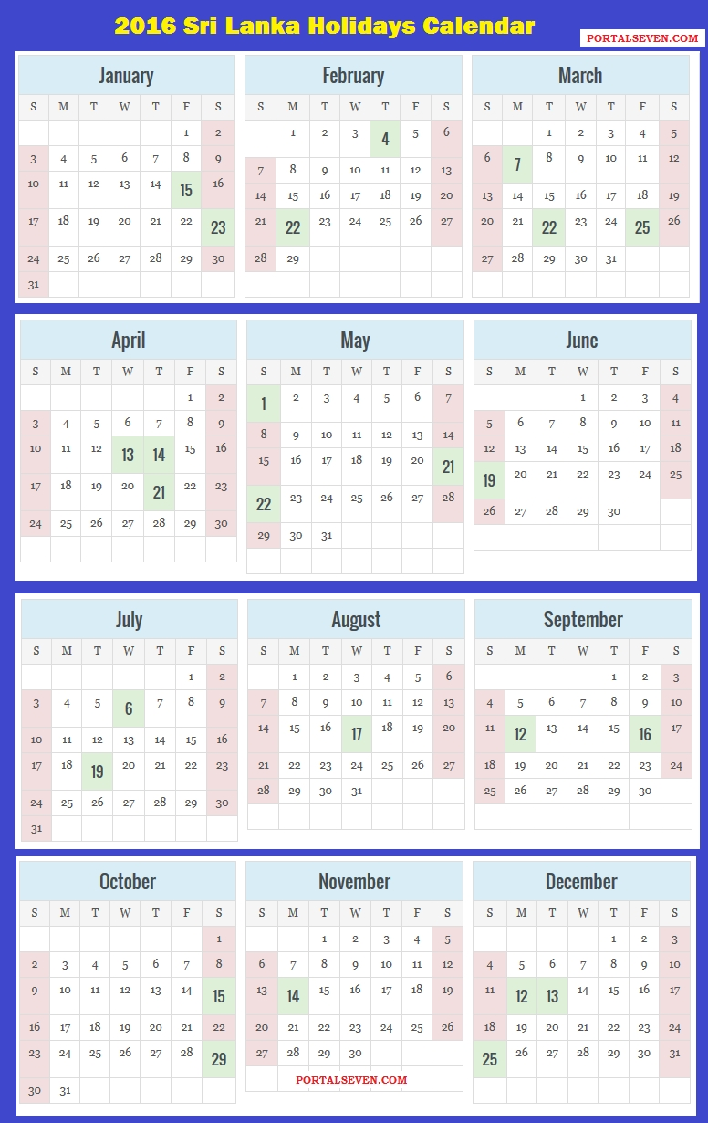 2016 Sri Lanka Calendar | 2016 Sri Lankan Holidays  List Ofhoidays In Sri Lanka