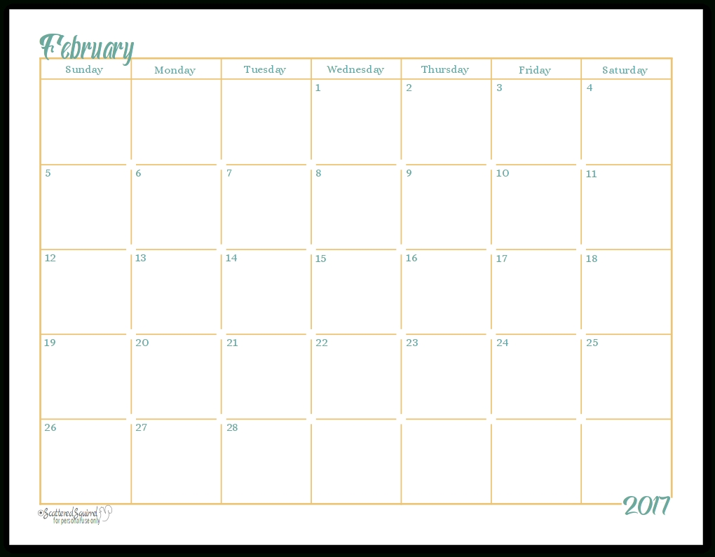 2017 Full-Size Monthly Calendar Printables Are Here!!!!!  Full Page Monthly Calendar Printable