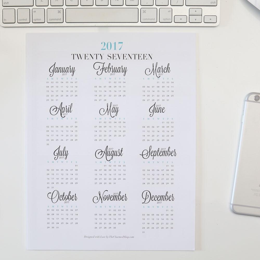 2017 Year At A Glance Calendar Printable {Letter/a4, A5, Half Letter  Free Printable Calendar Year At A Glance Calendar
