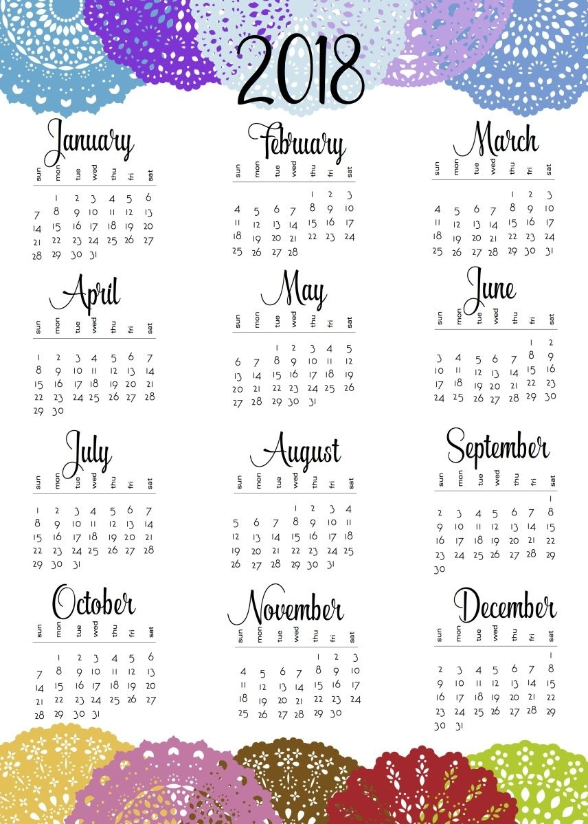 2018 And 2019 Doily One-Sheets | Free Printable, Free And Planners  Year At A Glance Calendar Simple Design