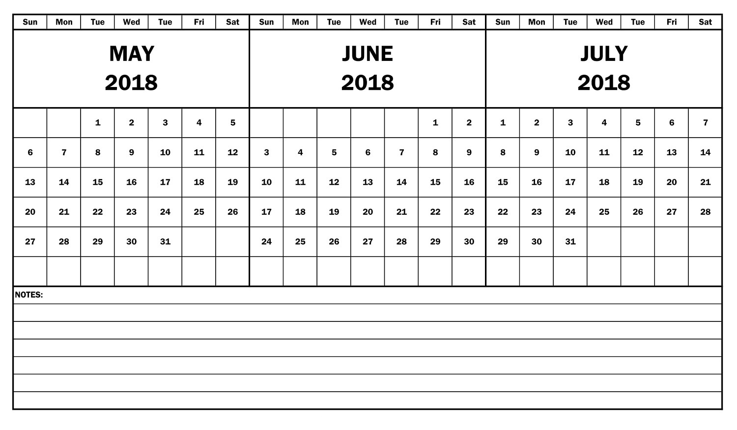2018 Calendar May June July Template Free Printable 3 Month  Free 3 Month Calendar Templates