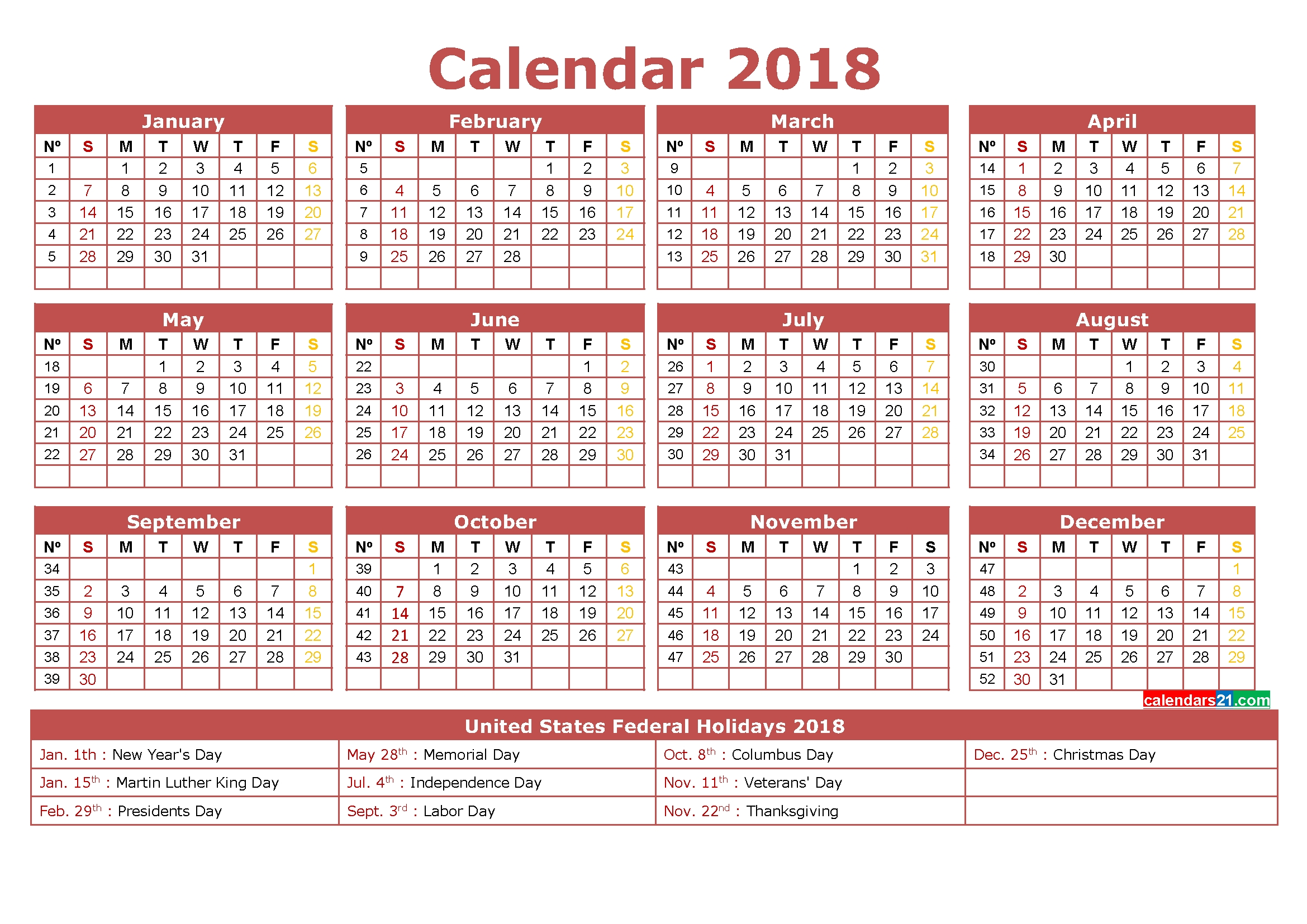 2018 Calendar Printable 12 Month In One Page 2019 Simple | Mightymic  12 Month Calendar On One Page