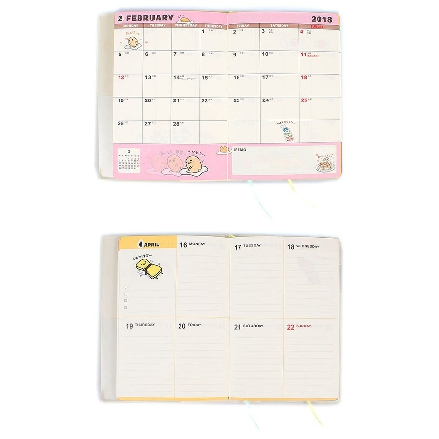 2018 Gudetama Weekly Planner Schedule Book Agenda Pvc Cover A6  Sanrio A6 Monthly Planner Print