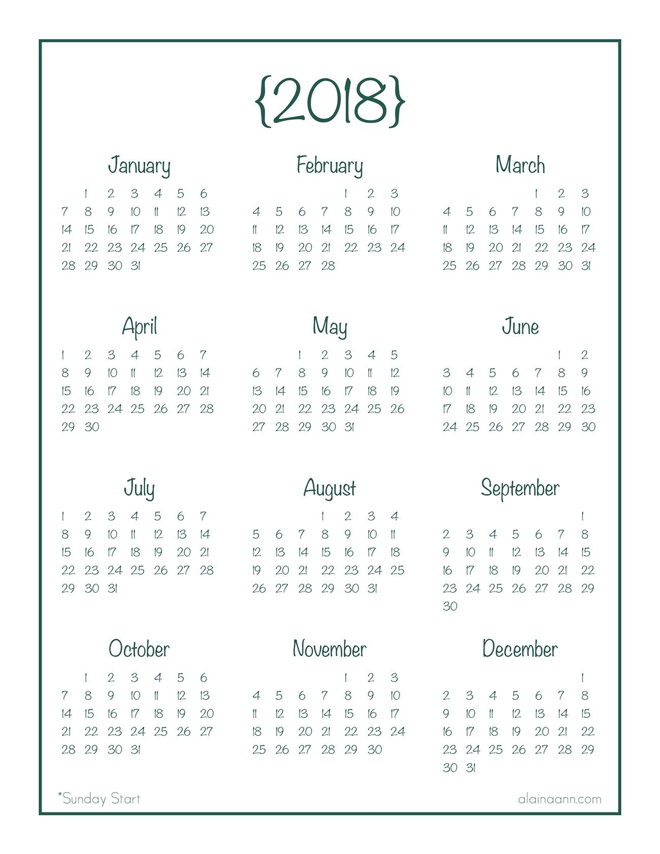 2018 Year-At-A-Glance Calendar {Free Printable} | Planner/journal  Year At A Glance Calendar Simple Design