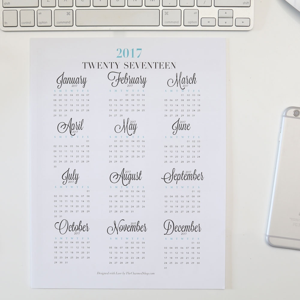 2018 Year At A Glance Calendar Printable {Letter/a4, A5, Half Letter  Year Calendar At A Glance