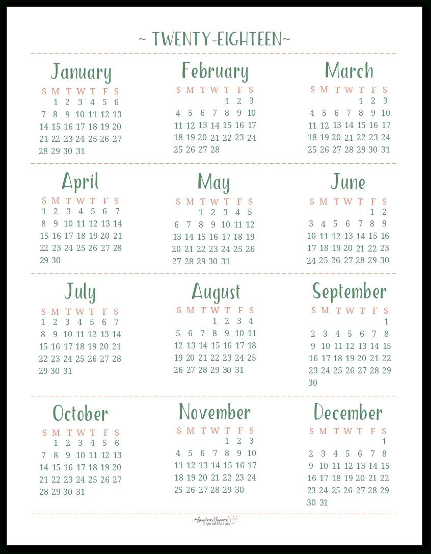 2018 Year At A Glance Calendar Template | Printable Calendar 2018  Year At A Glance Printable Template