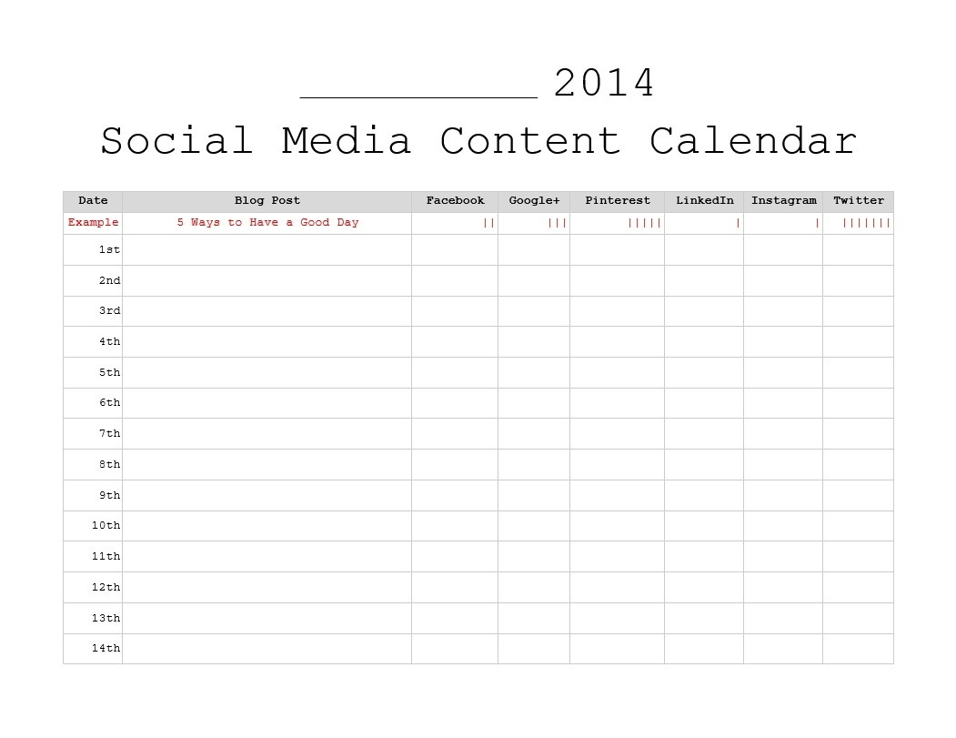 3 Free Monthly Content Marketing Calendars Printable Free Content  Social Content Calendar Template Monthly