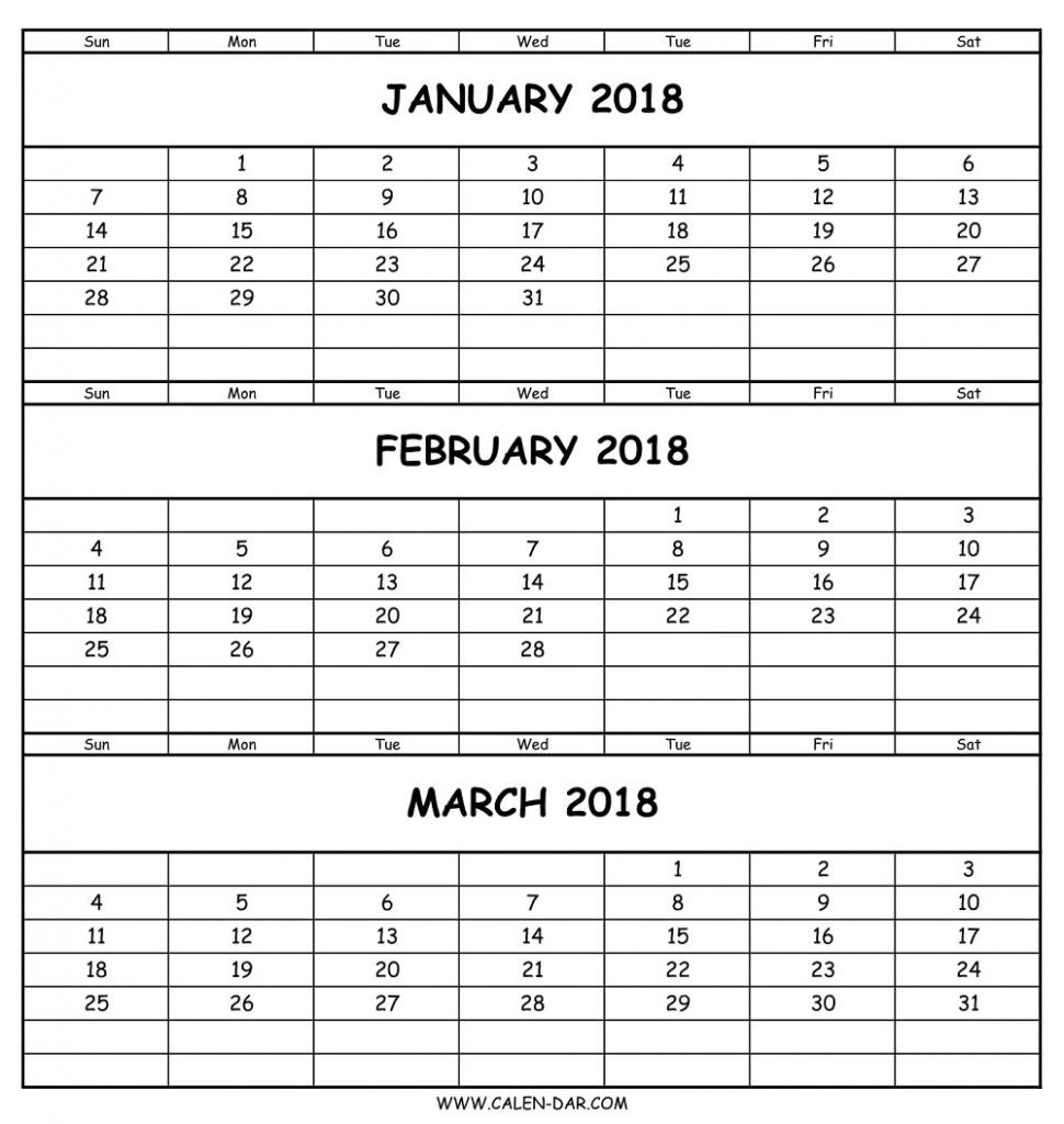 3 Month Printable Calendar 2018 Templates At Blank | Vitafitguide  Blank 3 Month Printable Calendar