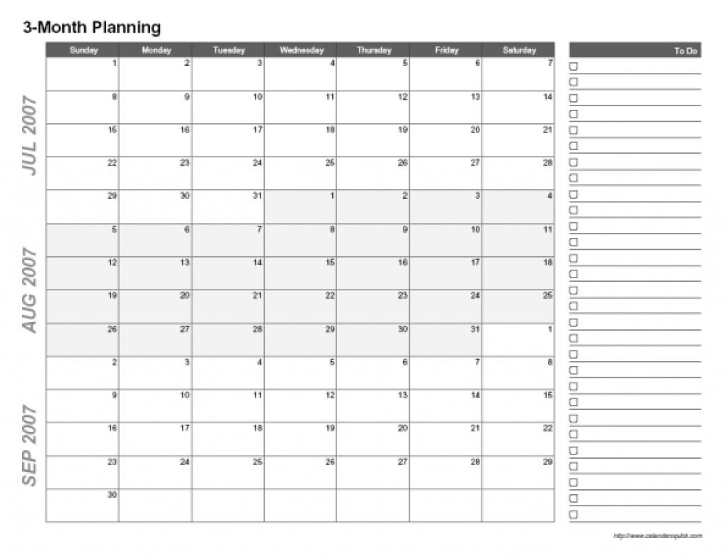 3 Months Calendar Template - Yeniscale.co  Free 3 Month Calendar Templates