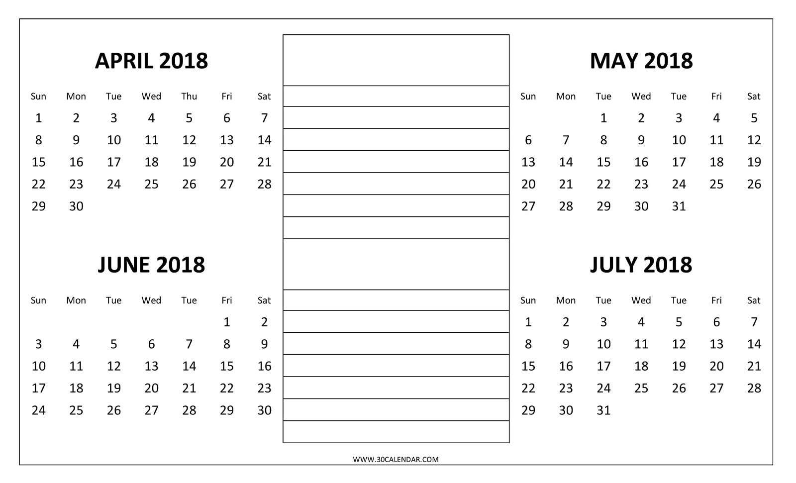 4 Month Printable Calendar | Mightymic  Blank Four Month Calendar Template