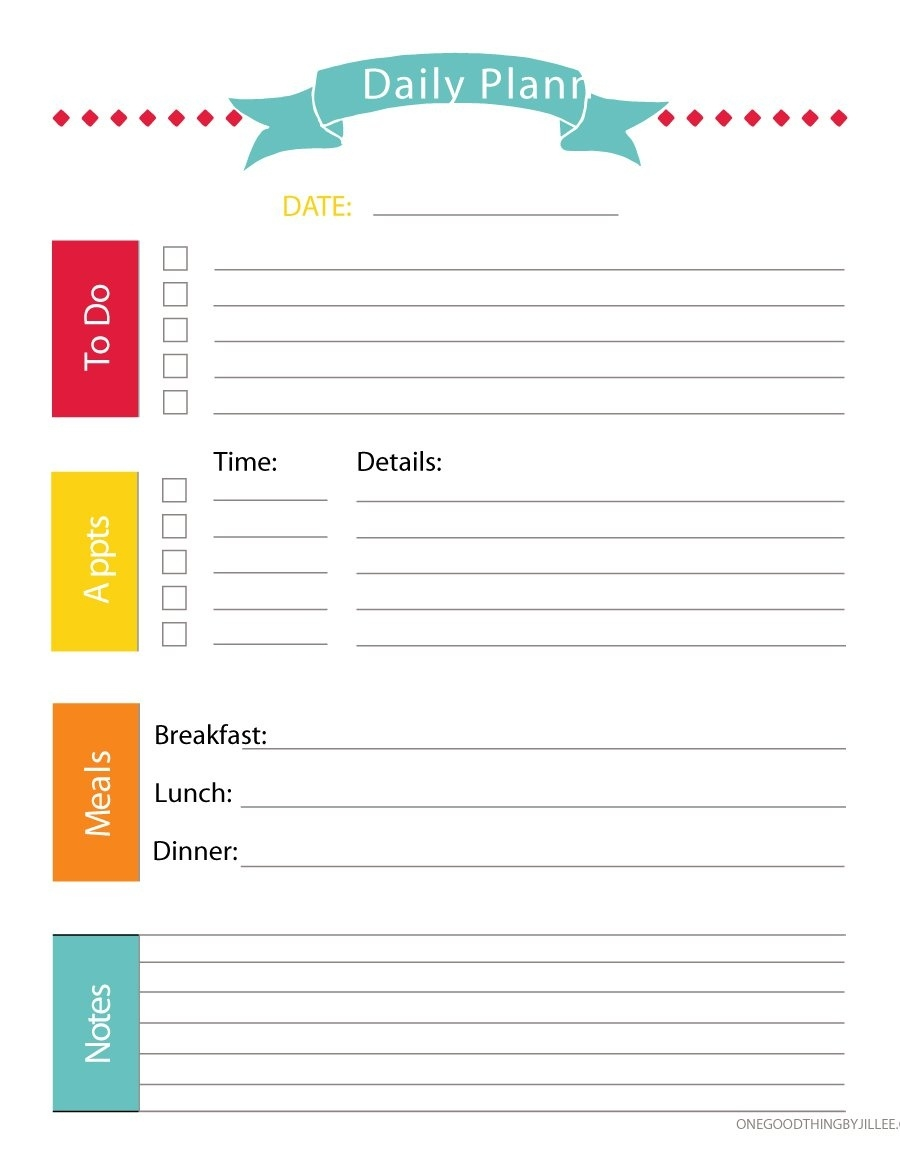 40+ Printable Daily Planner Templates (Free) - Template Lab  Free Printable Day Planner Templates