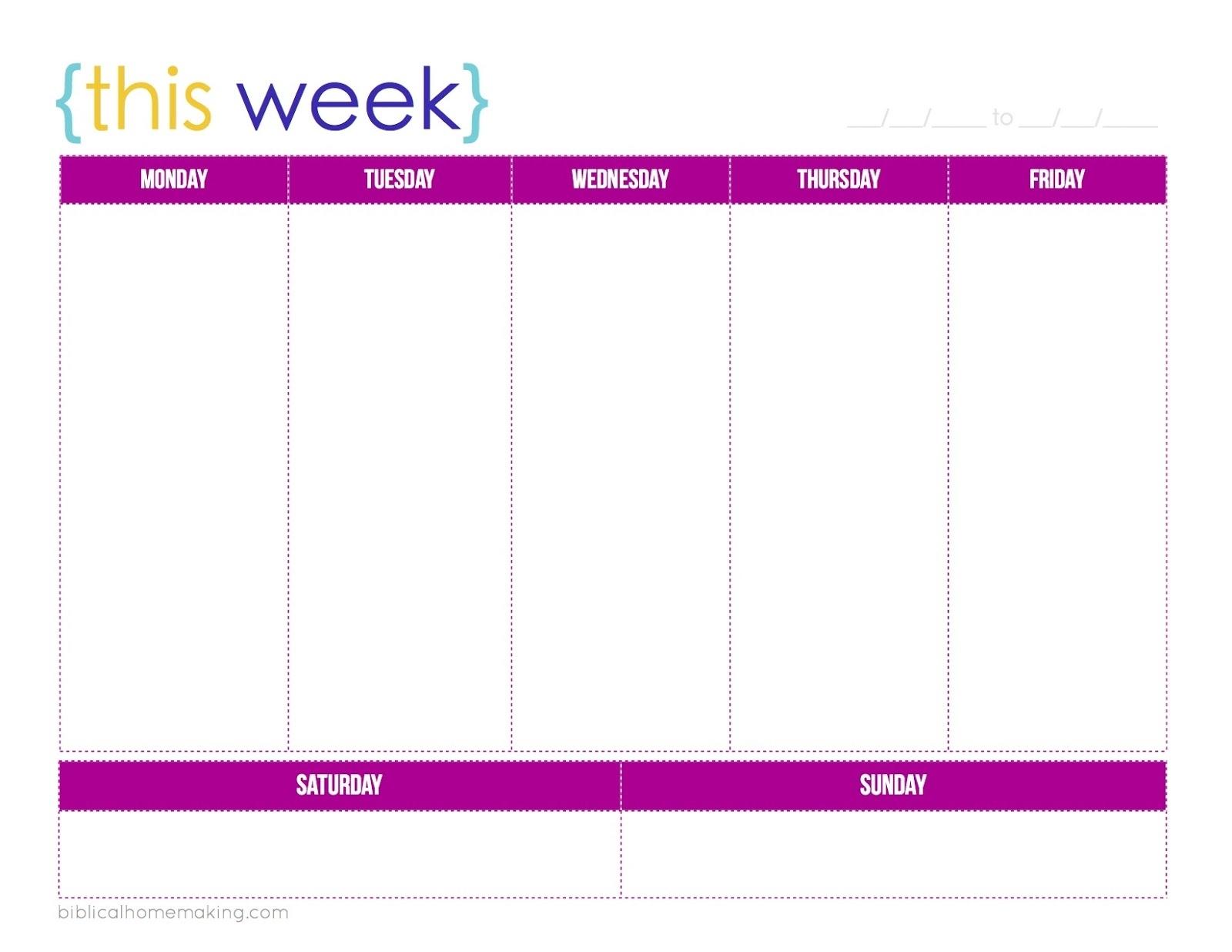 5 Day Week Calendar Printable | Calendar 2018 Design  Blank Calendar Template 5 Day