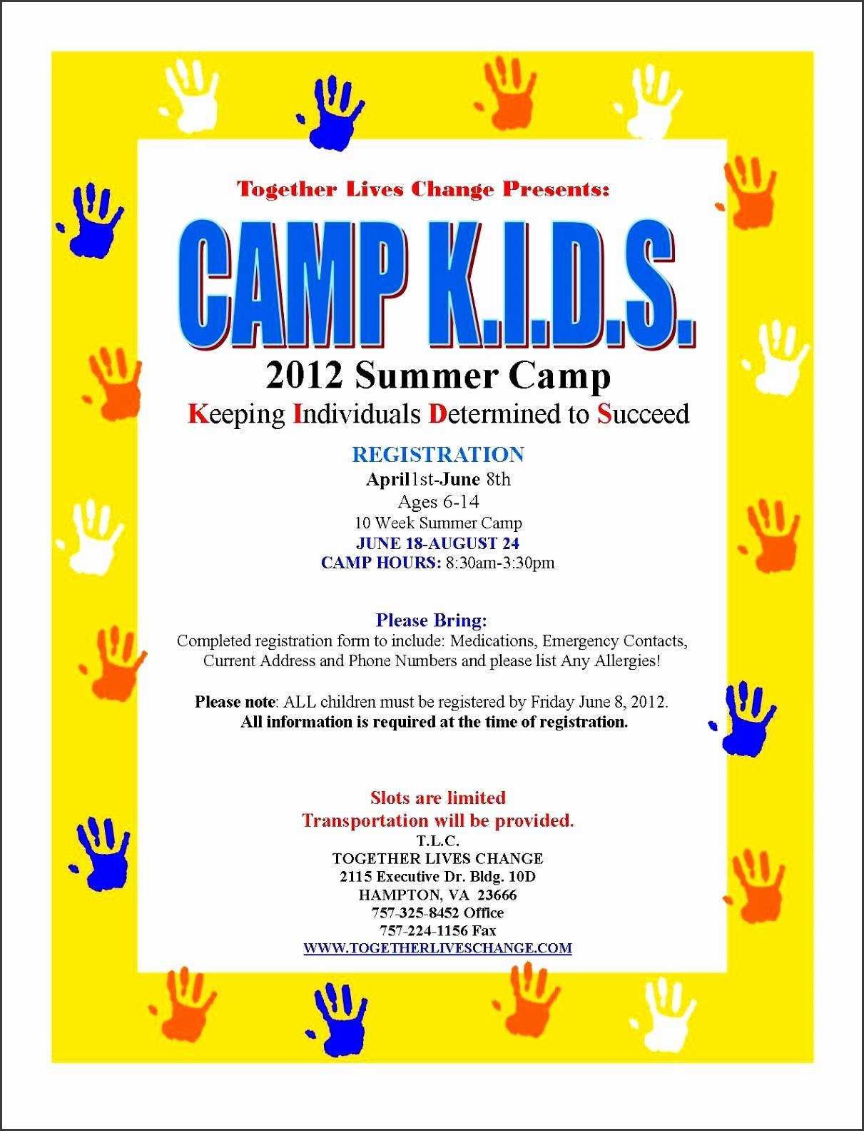 5 Free Summer Camp Registration Form Template - Sampletemplatess  Free Download Blank Summer Camp Application