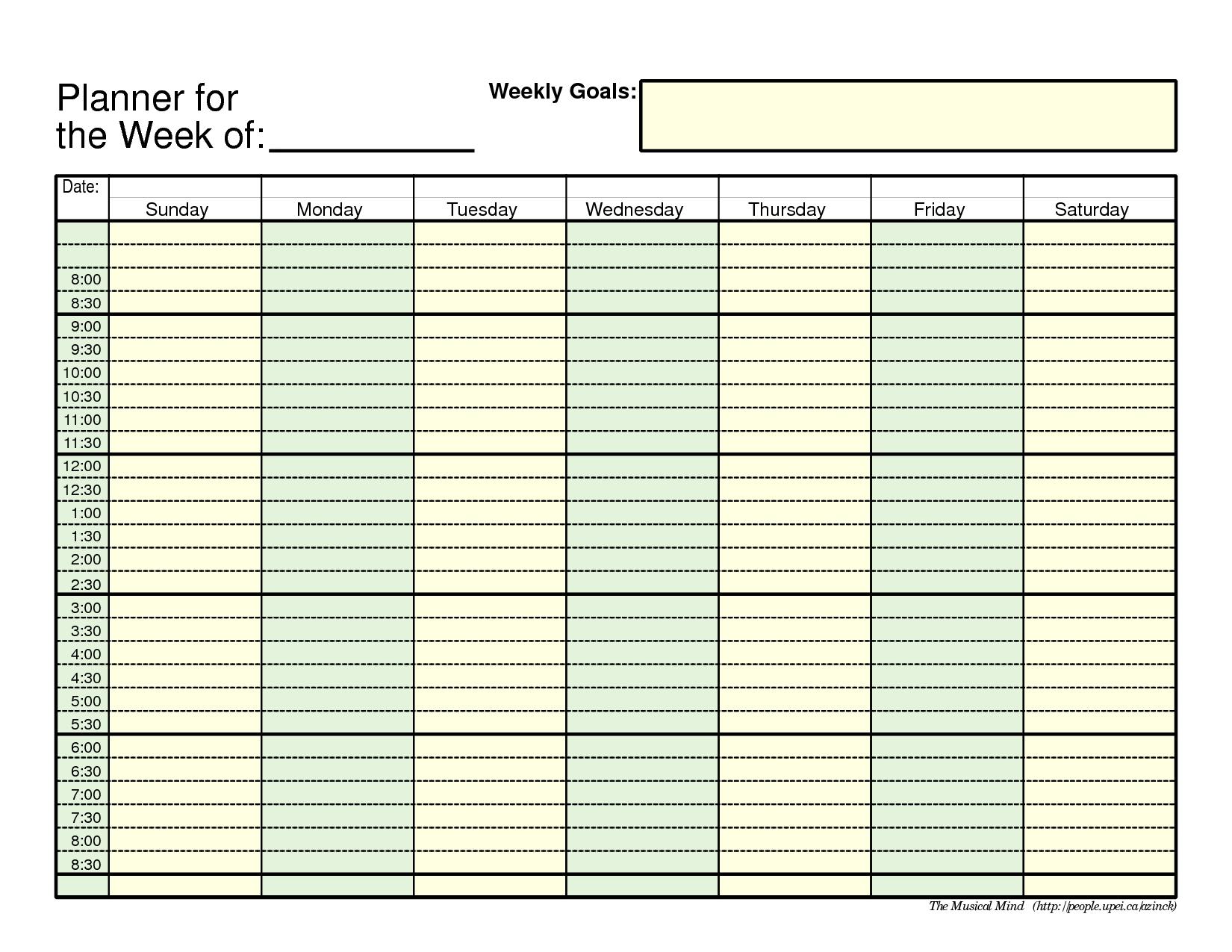 7 Day Weekly Planner Template Printable | Calendar 2018 Design  Blank Printable Weekly Calendars Templates