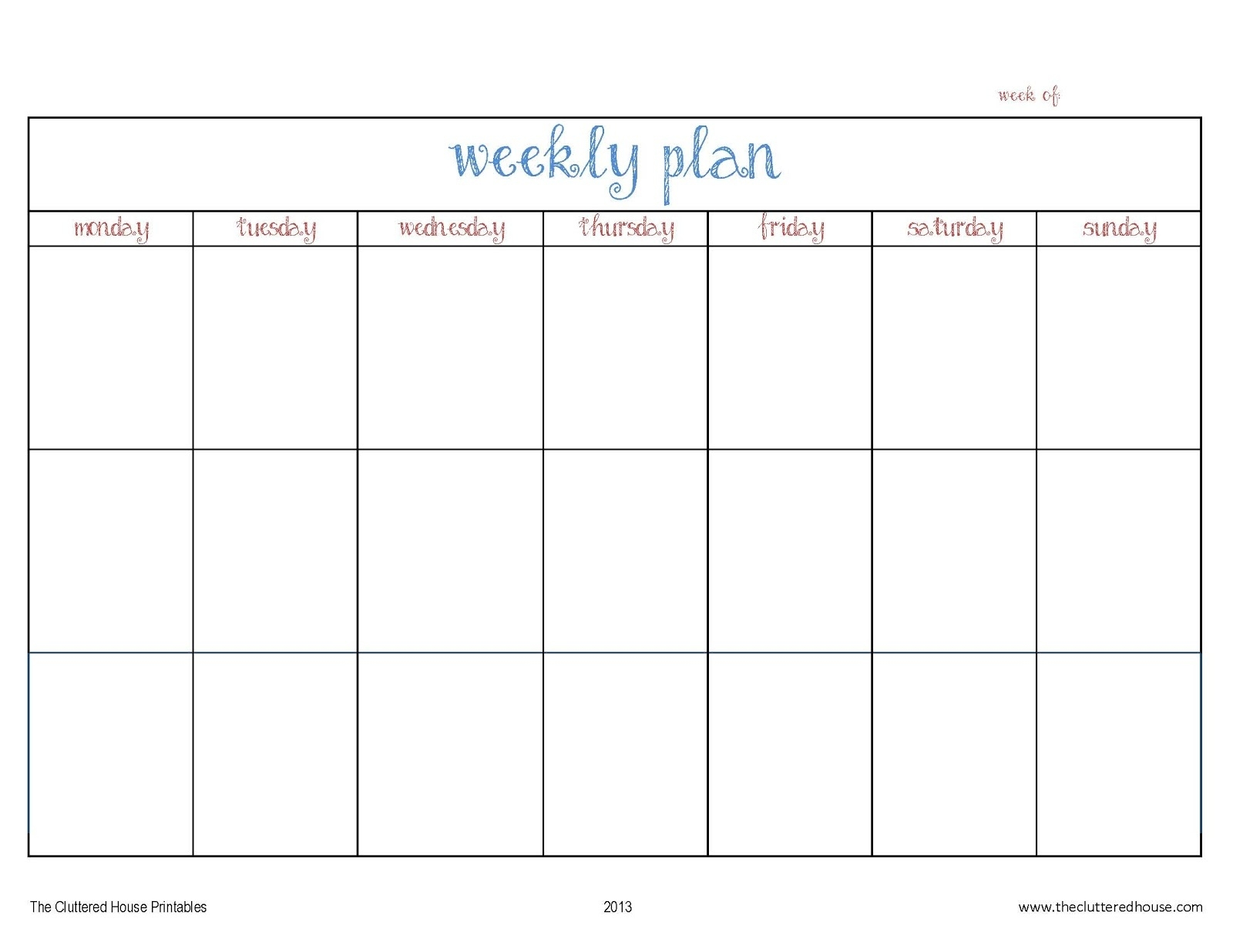 7 Day Weekly Planner Template - Yeniscale.co  7 Day Weekly Planner Template Printable