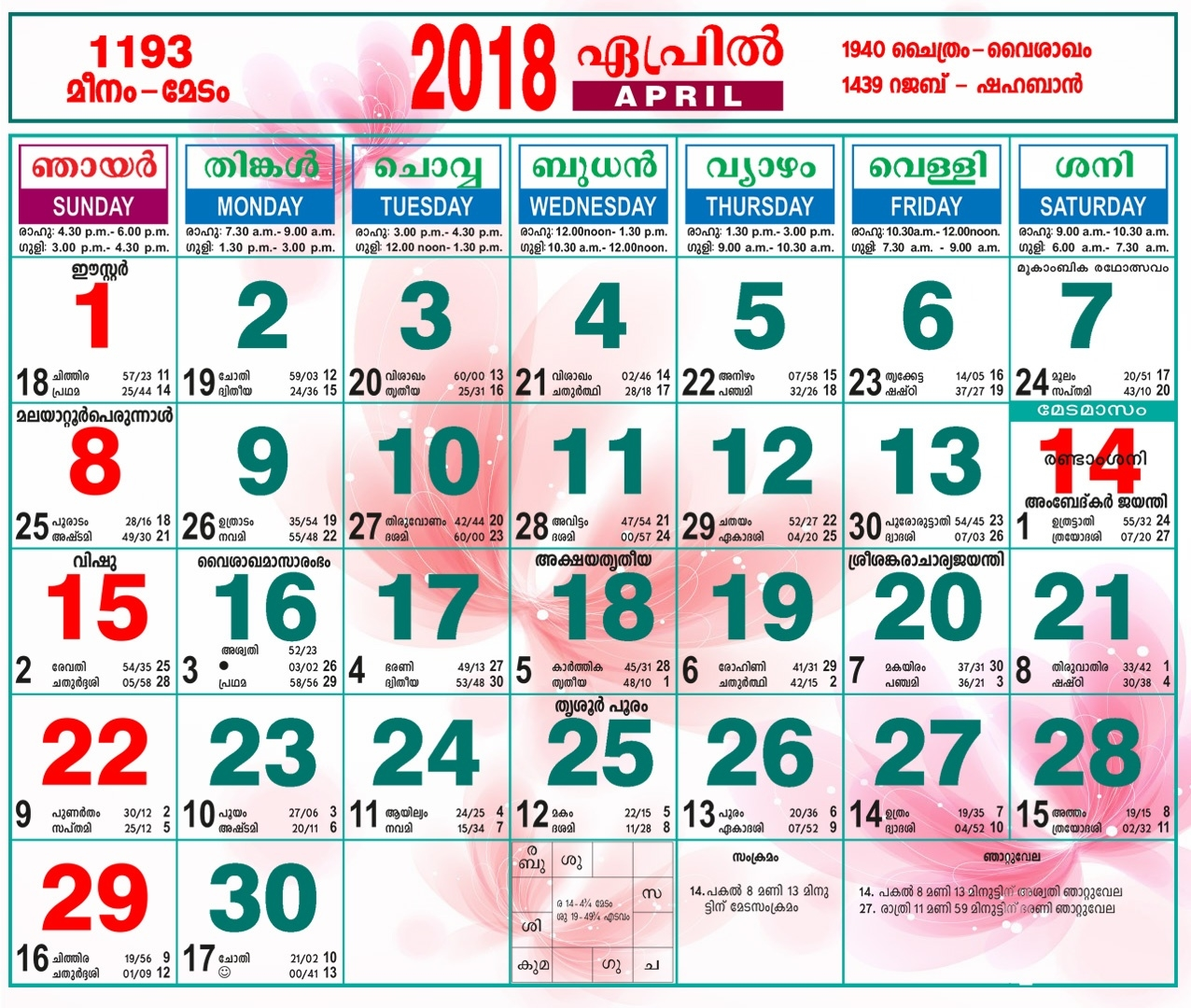 April 2018 Calendar Tamil - Free June 2018 Calendar Printable Blank  Vedic Calendar For Sep 27 1940