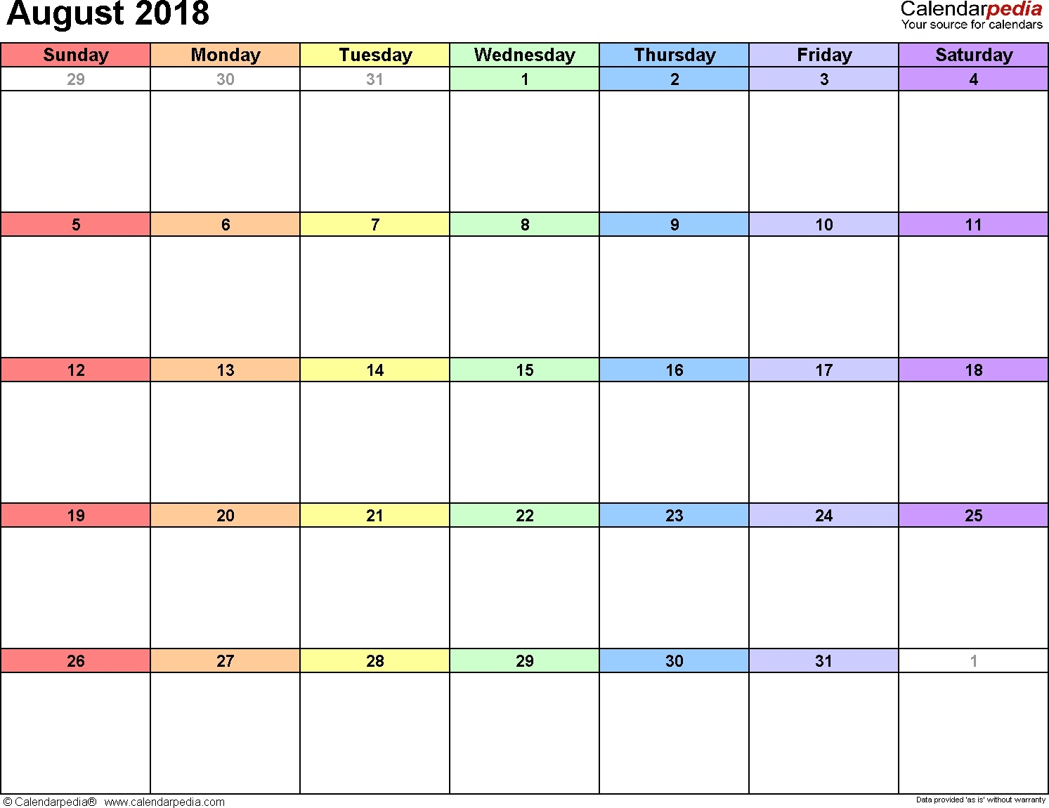 August 2018 Calendar | Calendar Month Printable  Monthly Calendars To Print Colorful