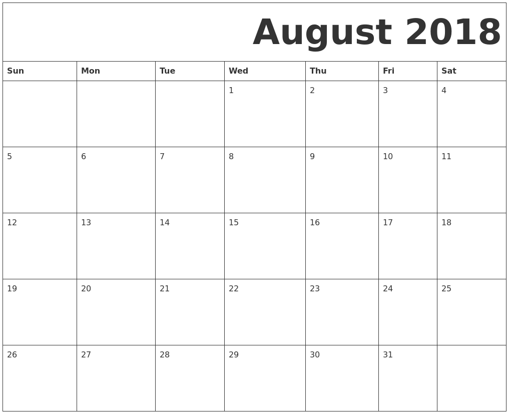 August 2018 Free Printable Calendar  June And July Printable Calendars