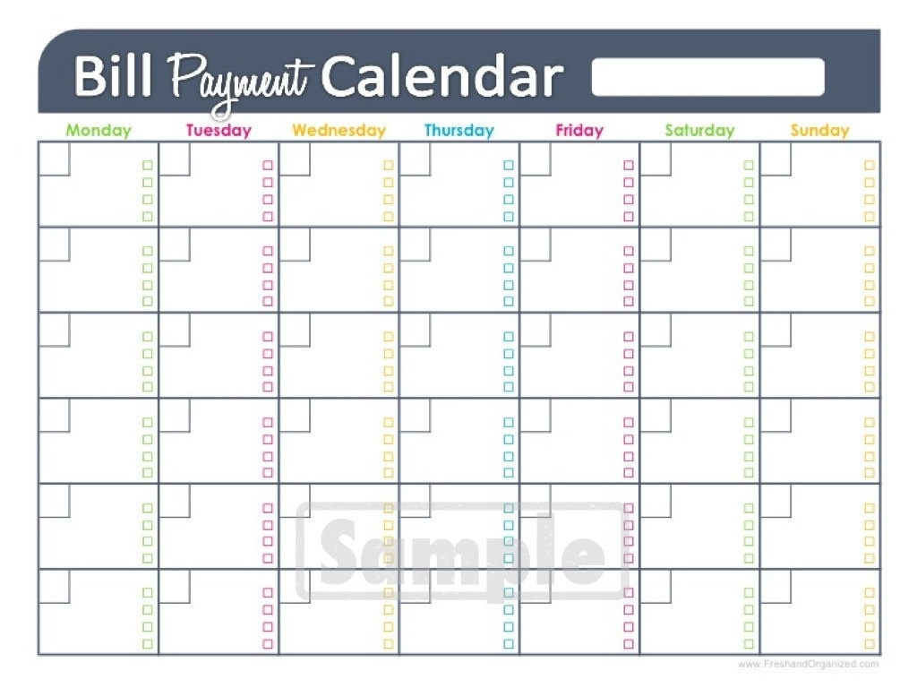 Bill Pay Calendar Template Free - Yeniscale.co  Calendar To Print For Bills