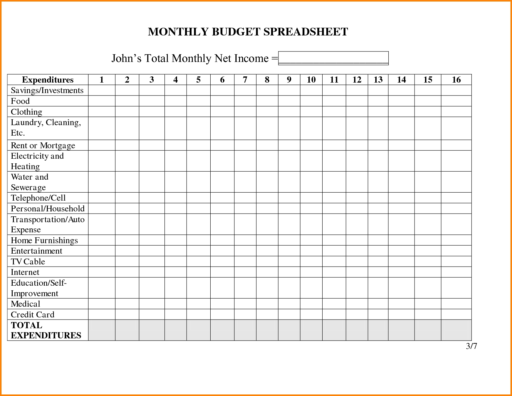 Bill Paying Spreadsheet Printable - Yeniscale.co  Blank Monthly Bill Payment Worksheet