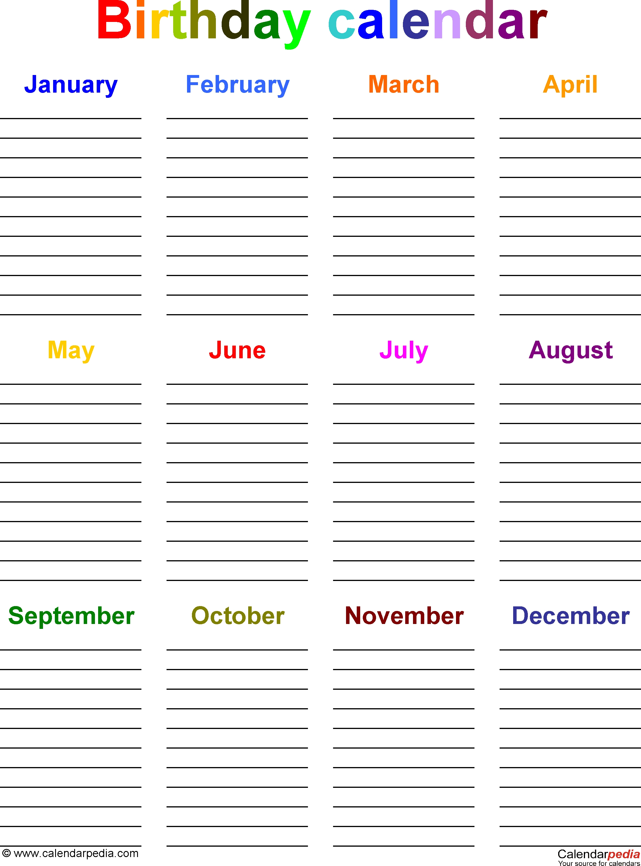 Birthday Calendars - 7 Free Printable Word Templates  12 Month Birthday Calendar Template