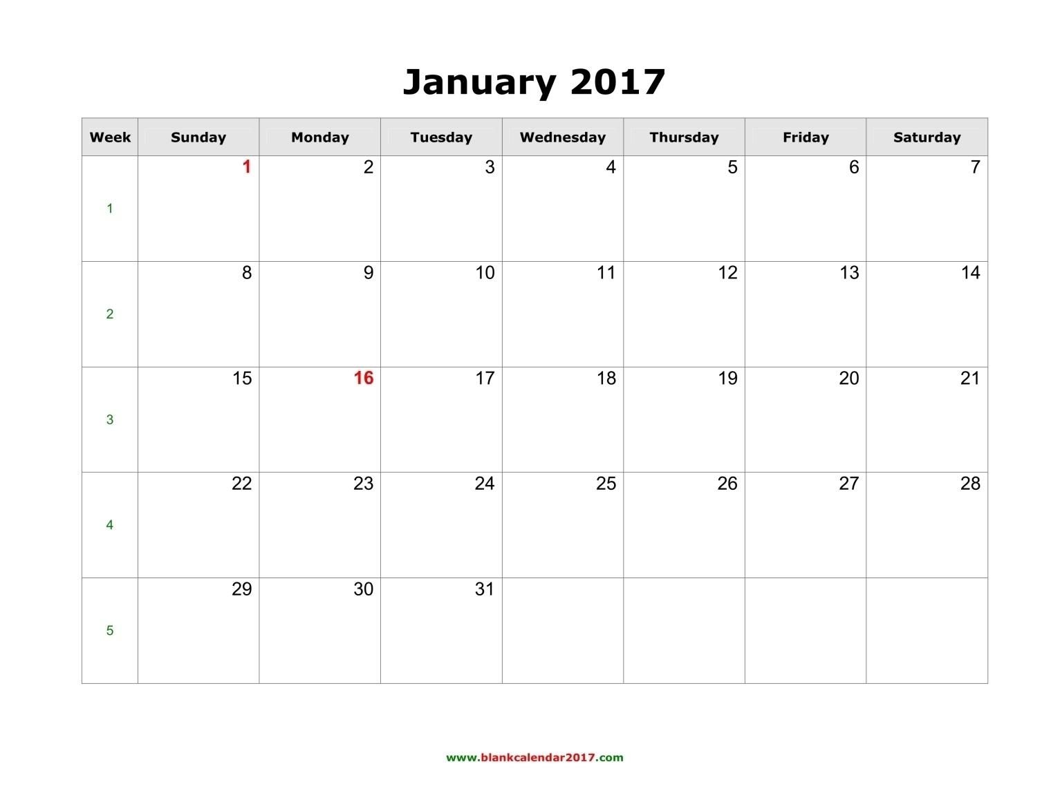 Blank 2017 Calendar | Monthly Calendar Template  Printable Editable Monthly Calendar Template
