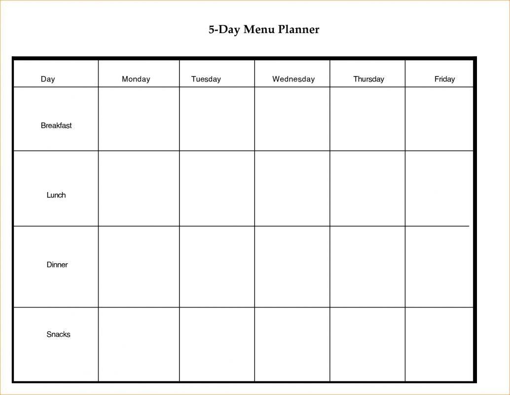 Blank 5 Day Calendar Template | Vitafitguide  Free Blank 5 Day Calendar
