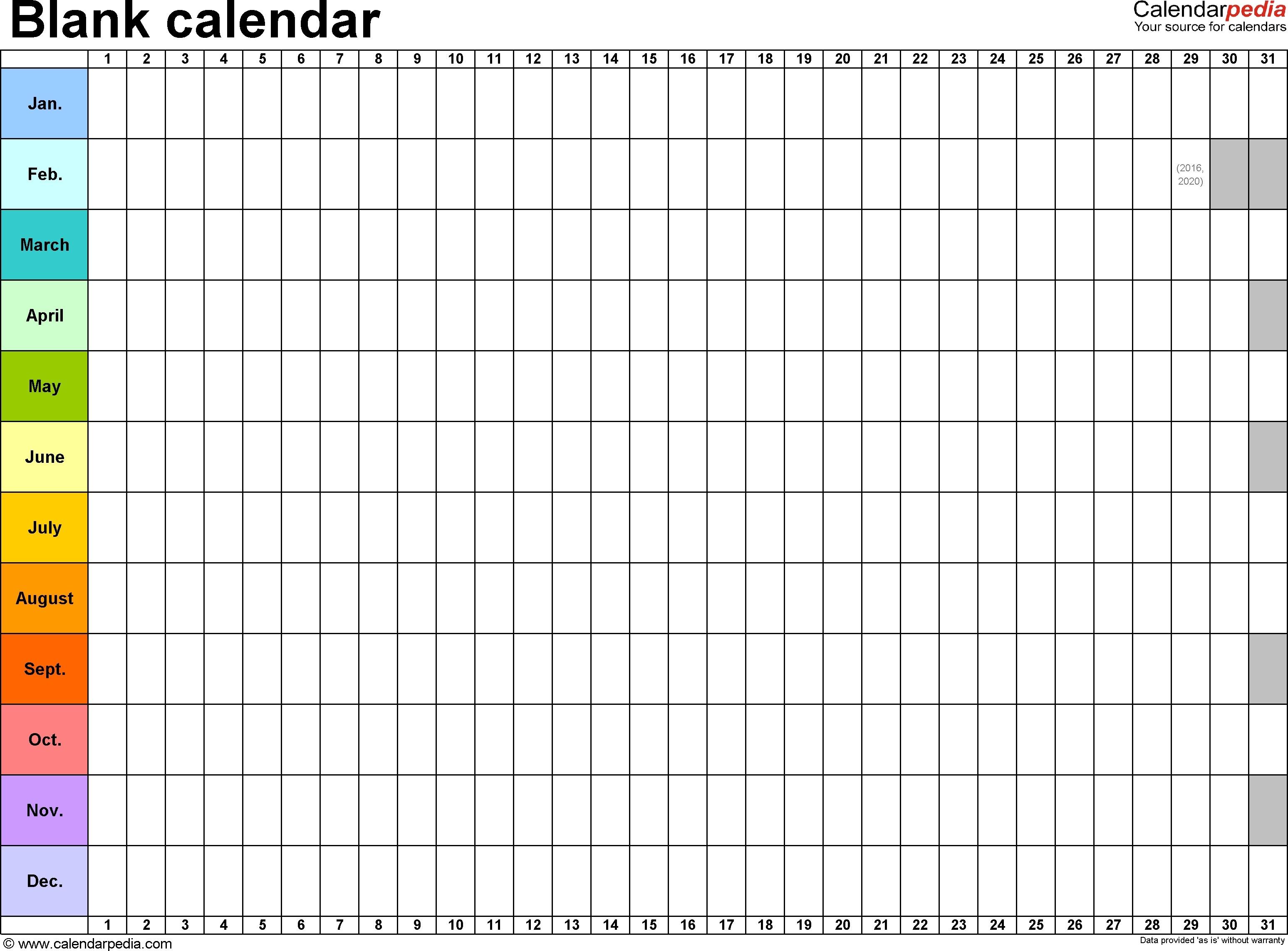 Blank Calendar Template Word | Calendar Month Printable  Annual Calendar Planner Excel Spreadsheet