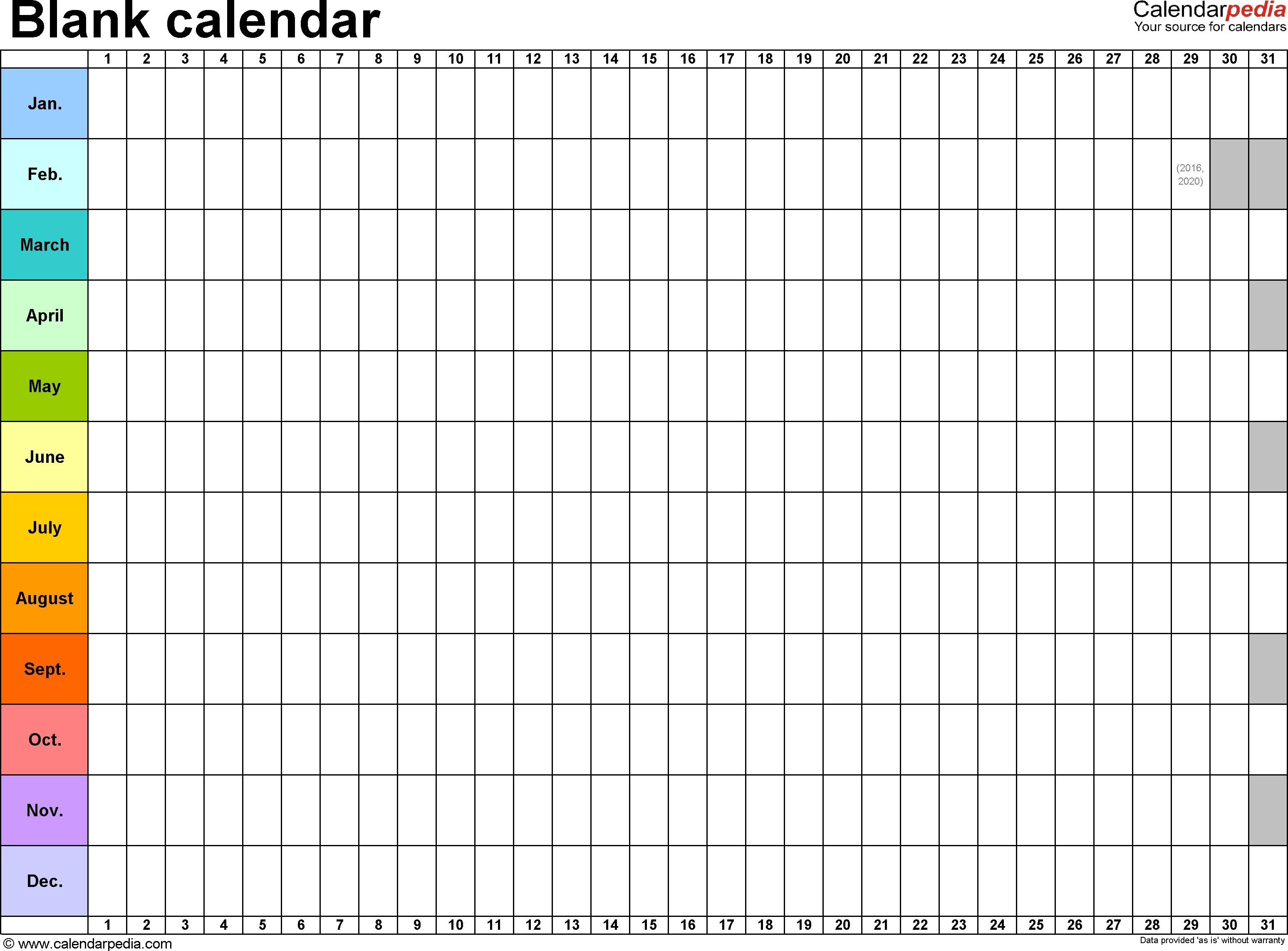 Printable Large Blank Three Month Calendar Template Template