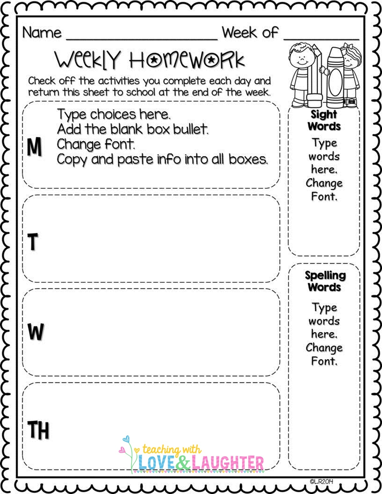 Blank Homework Assignment Sheets | Free Printables Worksheet  1St Grade Homework Chart Templates