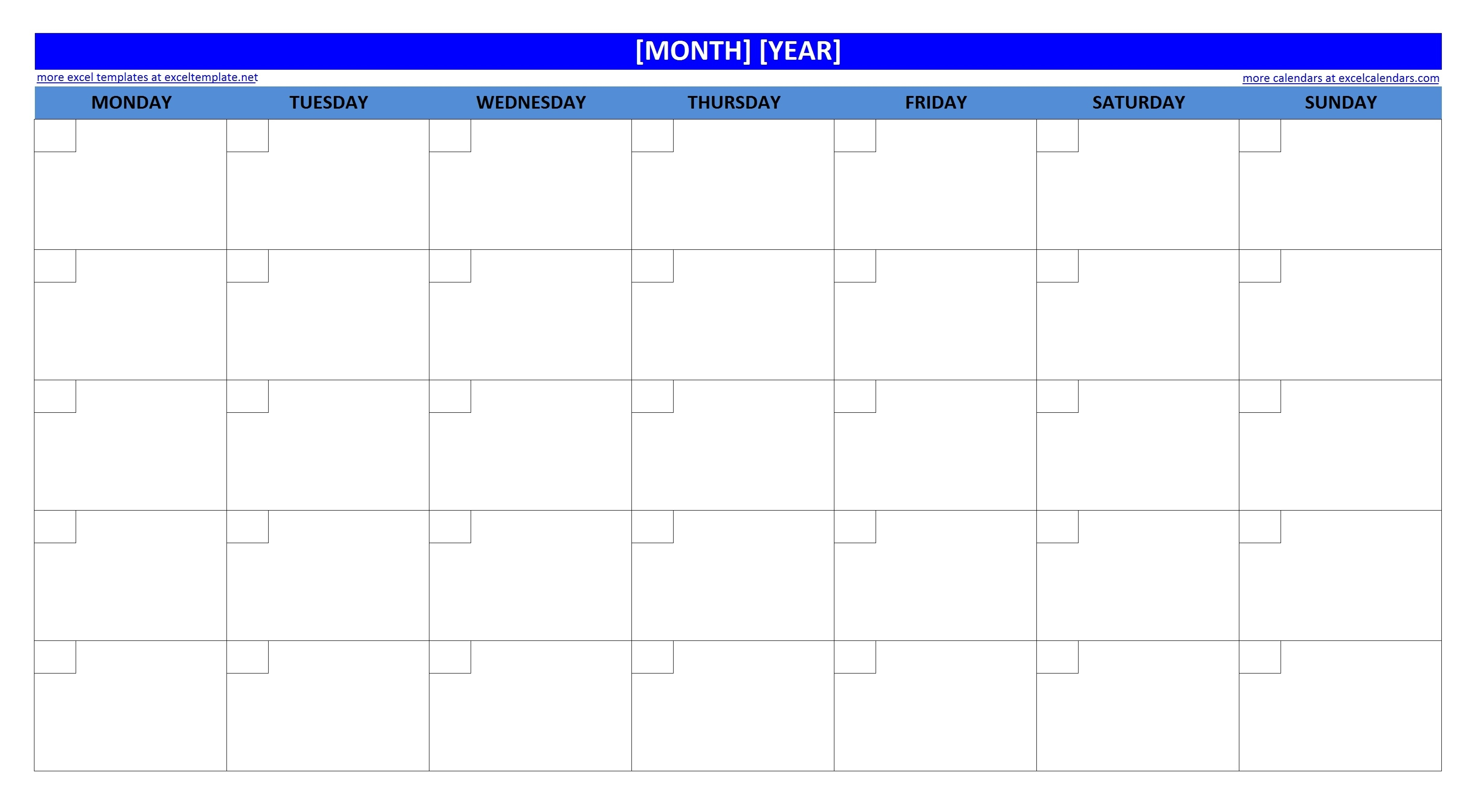 Blank Monthly Calendar Template  Large Empty Monthly Calendar Monday Start