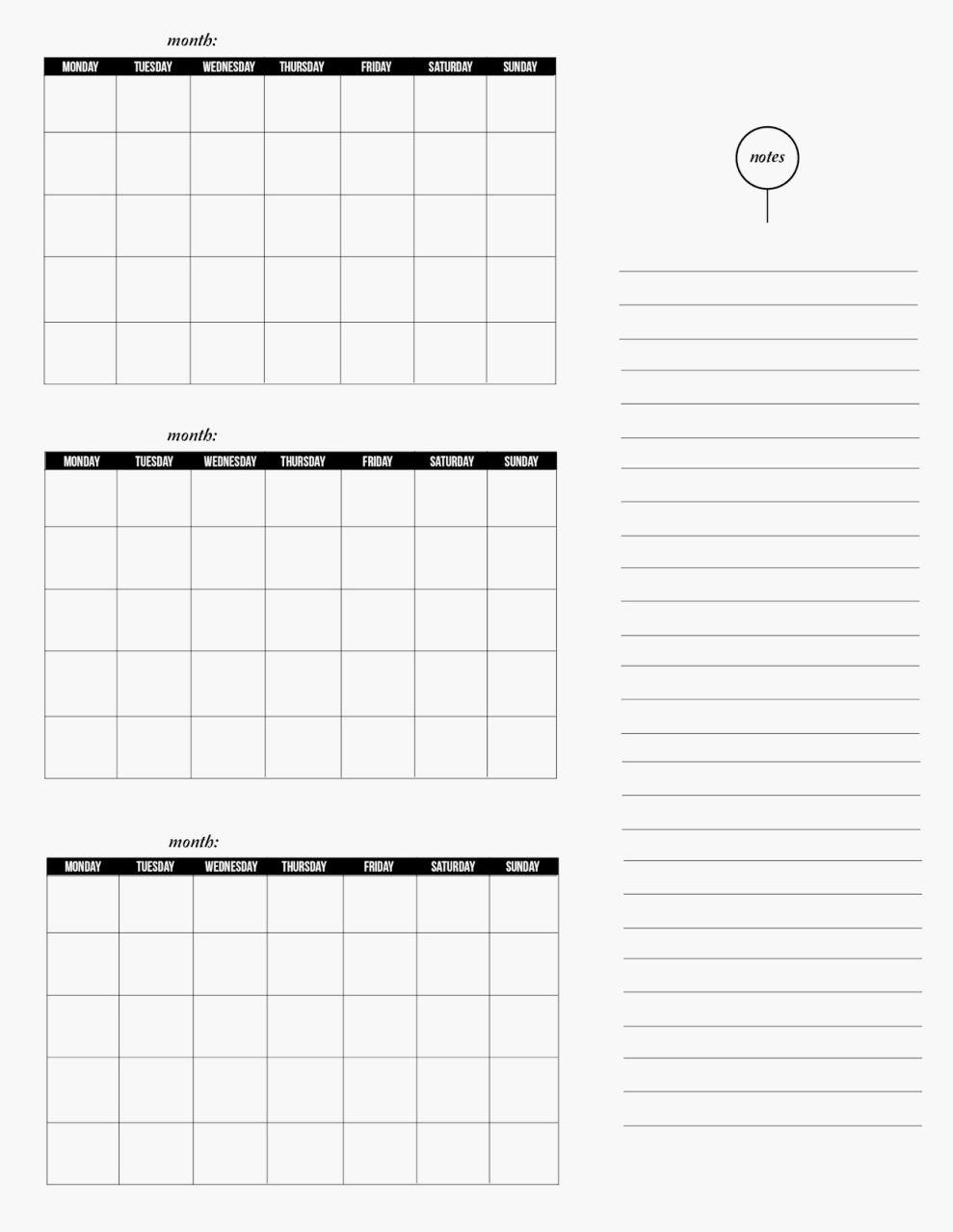 Blank Printable 3 Month Calendar | Seven Photo  Blank 3 Month Printable Calendar
