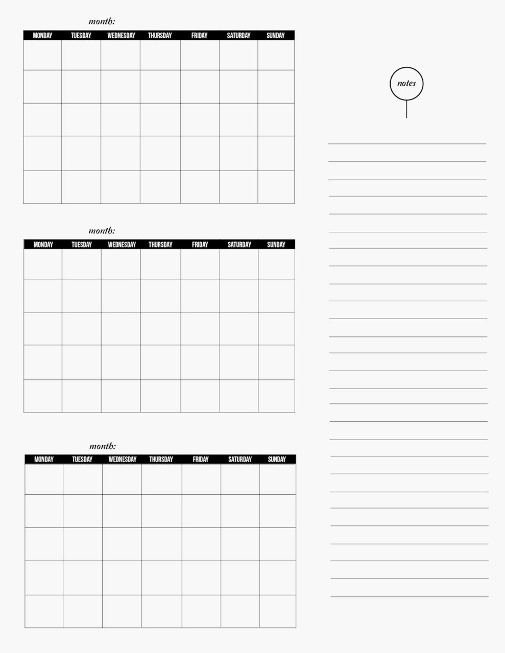 Blank Printable 3 Month Calendar | Seven Photo  Free Printable Three Month Calendar