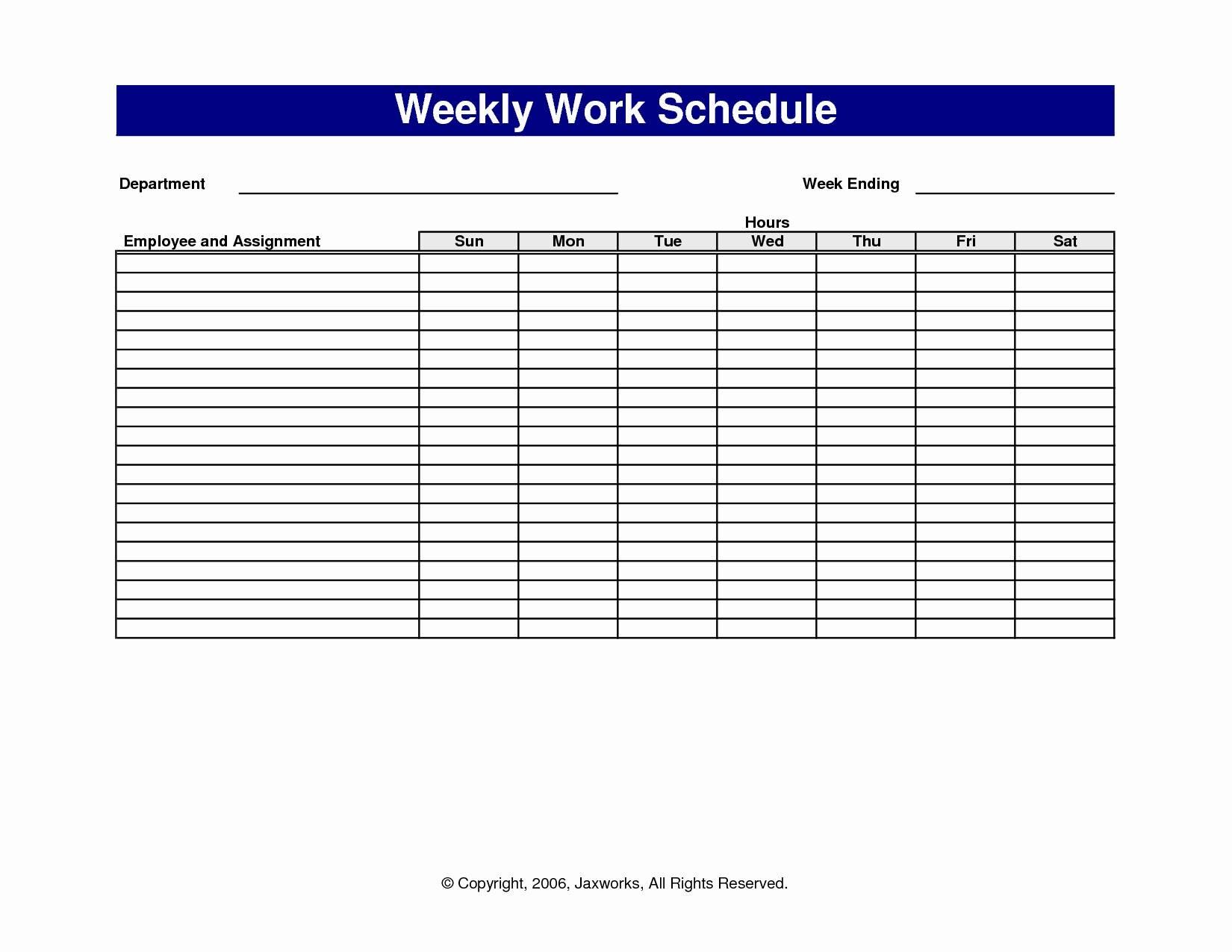 Blank Printable Weekly Schedule Template Awesome Sample Schedules  Printable Blank Weekly Employee Schedule