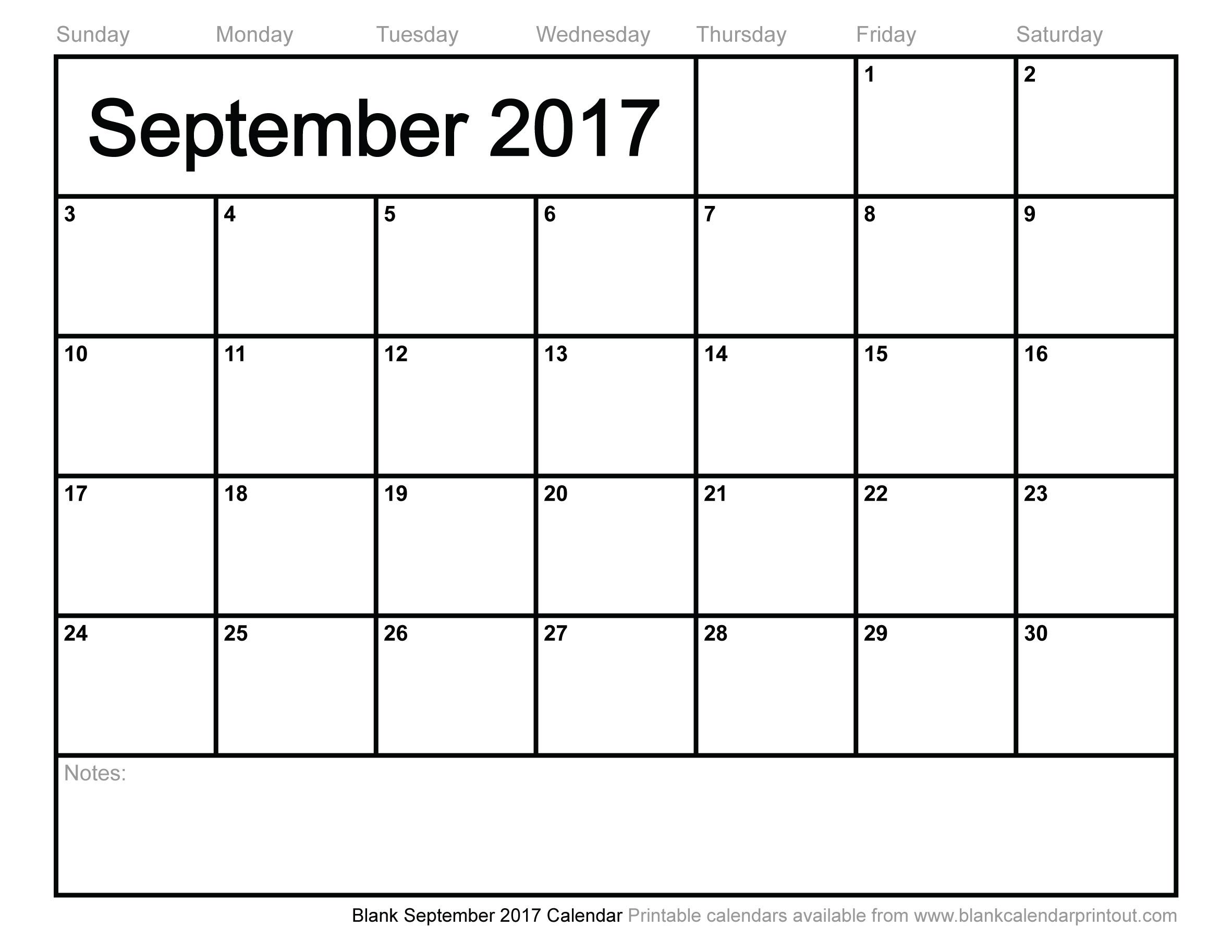 Blank September 2017 Calendar To Print  Calendar For Month Of September