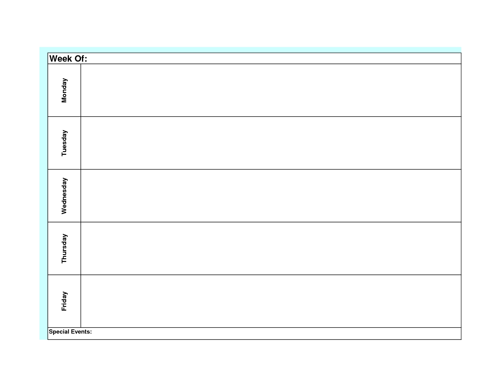 Printable Weekly Calendar Monday To Sunday Template Calendar Design