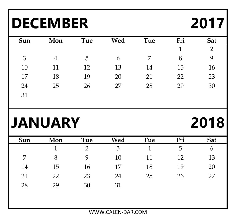 Calendar For December 2018 And January 2018 | Free Printable Blank  Images Of A Calendar January Through December