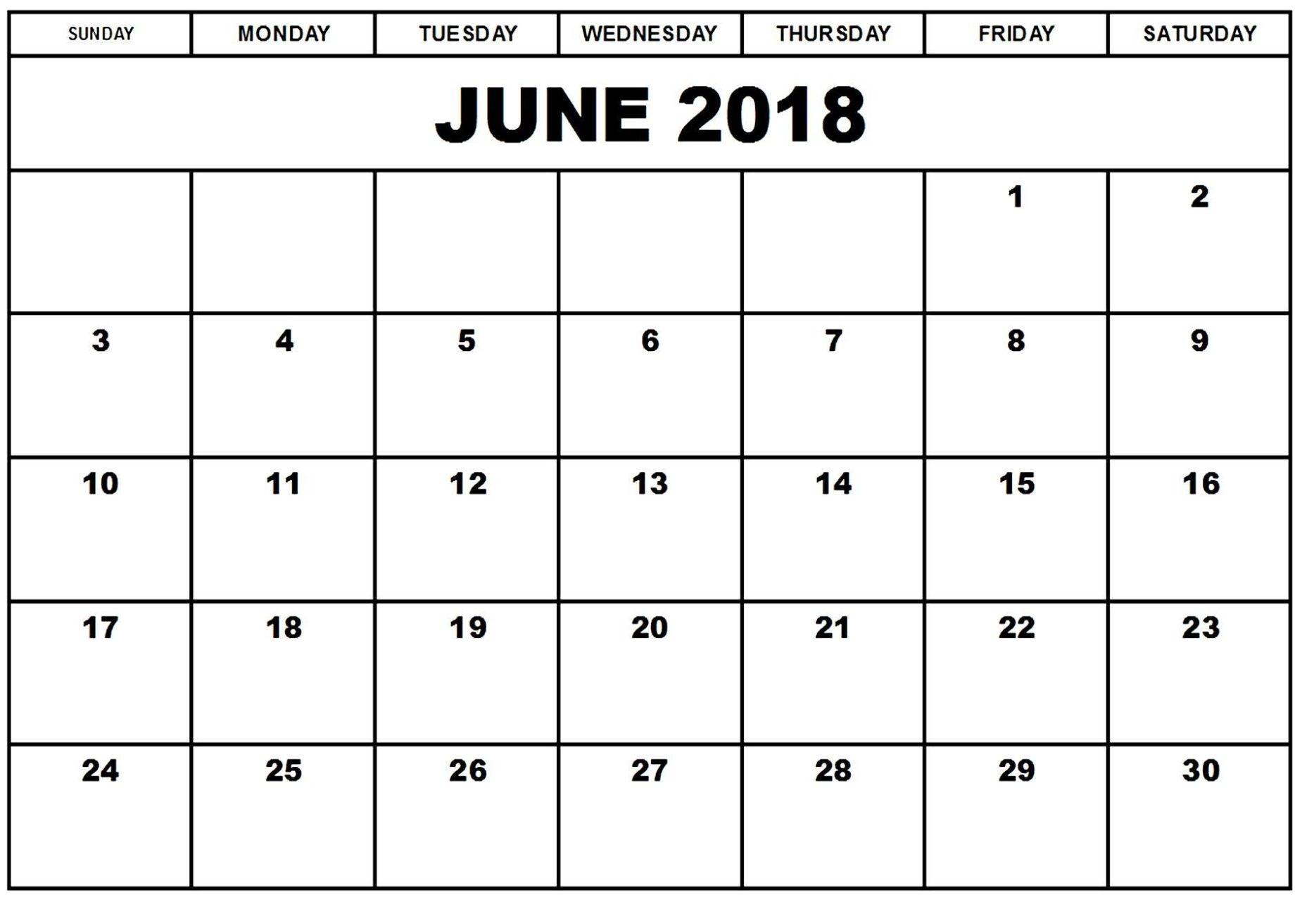 Calendar June 2018 Monthly - Calendar Printable With Holidays  June And July Calendar Printable