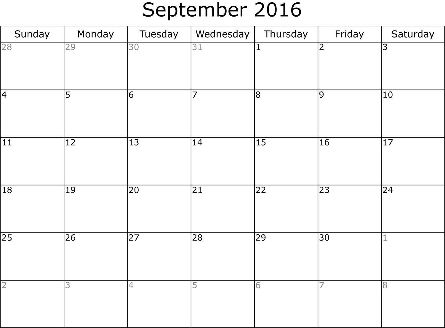 Calendar Planner September 2016 | Fotolip Rich Image And Wallpaper  Calendar For Month Of September